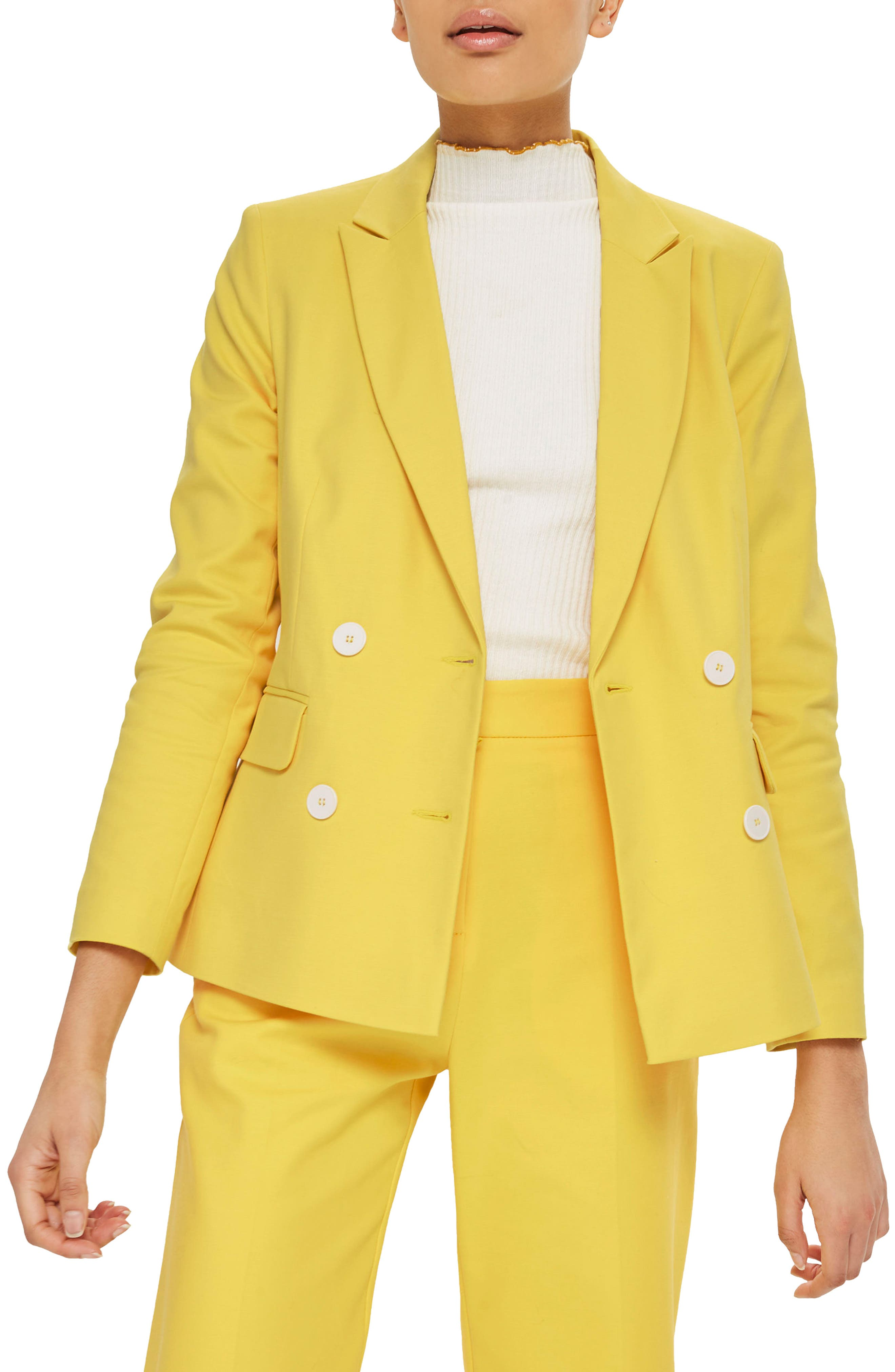 Milly Double Breasted Suit Jacket,                             Main thumbnail 1, color,                             Yellow