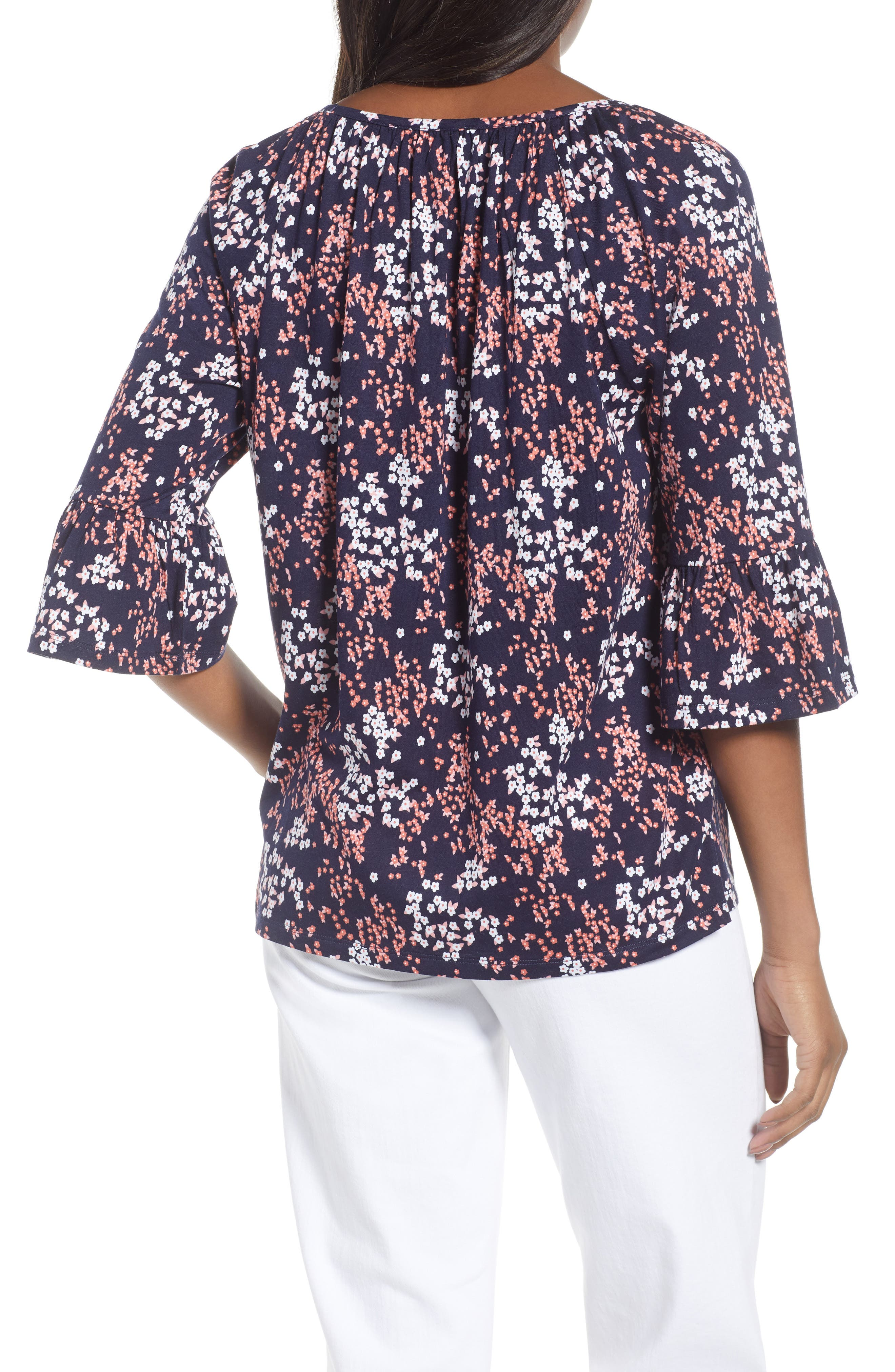 Scattered Blooms Print Peasant Top,                             Alternate thumbnail 2, color,                             True Navy/ Bright Blush