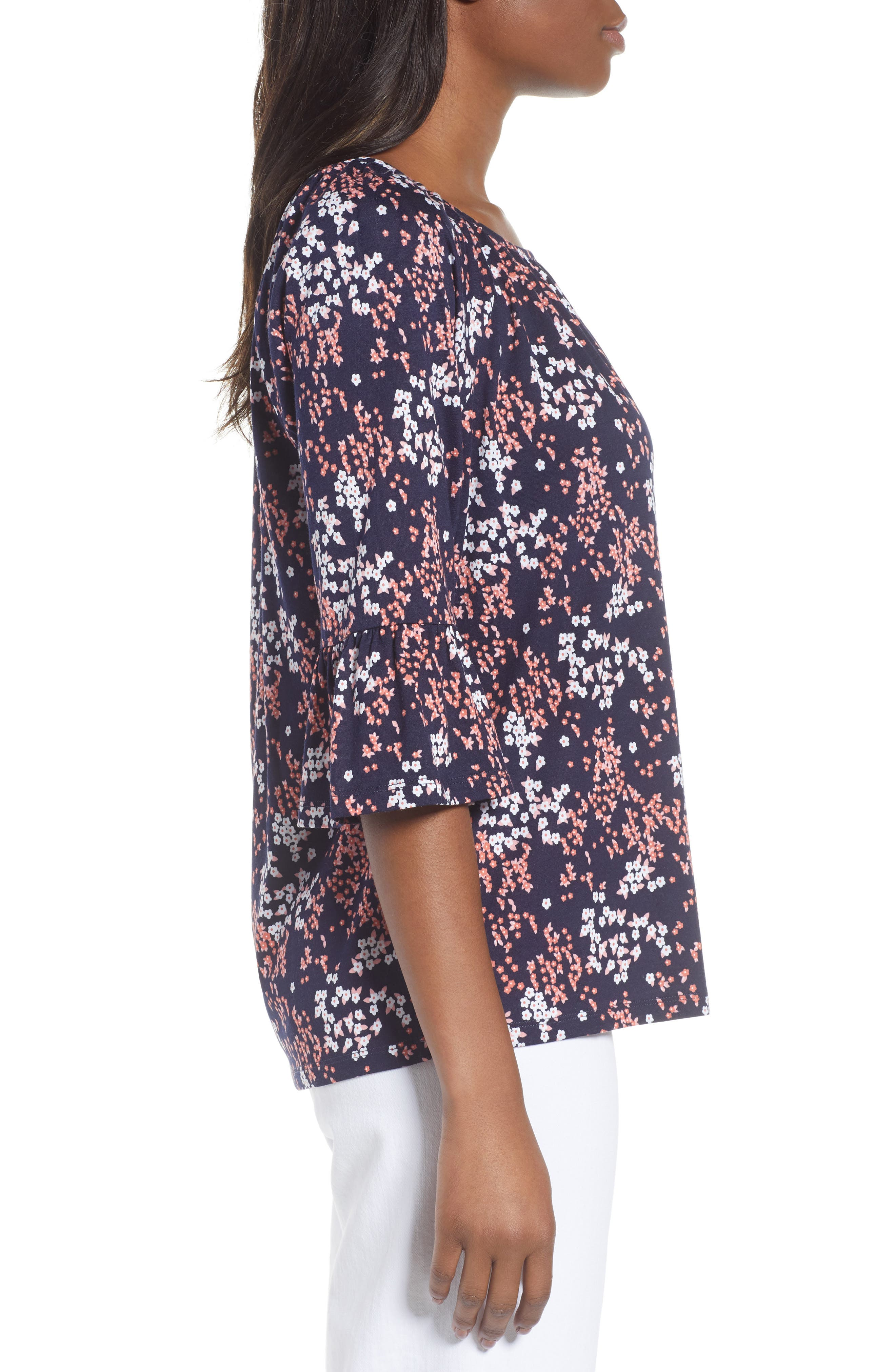 Scattered Blooms Print Peasant Top,                             Alternate thumbnail 3, color,                             True Navy/ Bright Blush