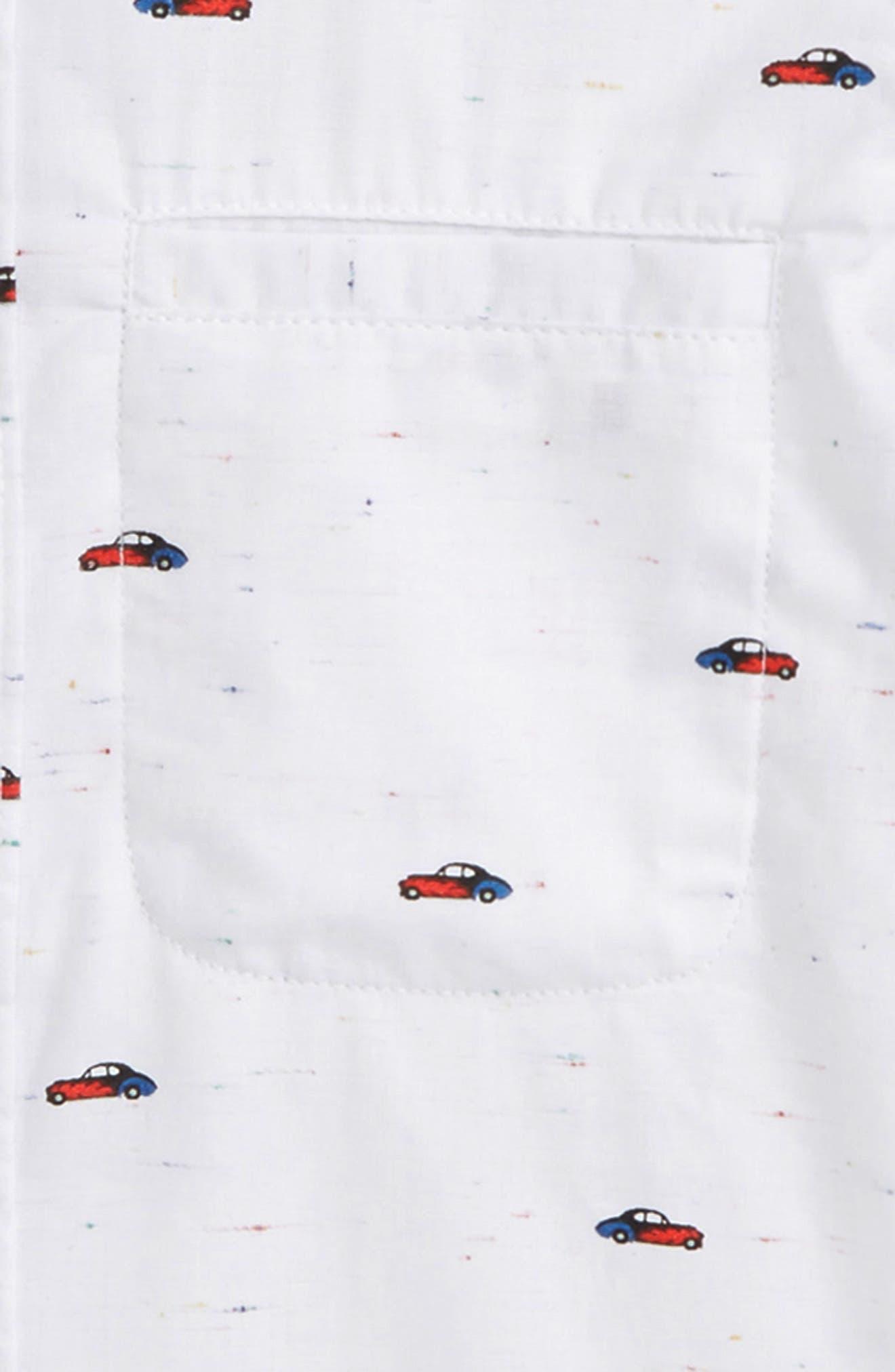 Car Print Woven Shirt,                             Alternate thumbnail 2, color,                             Grey