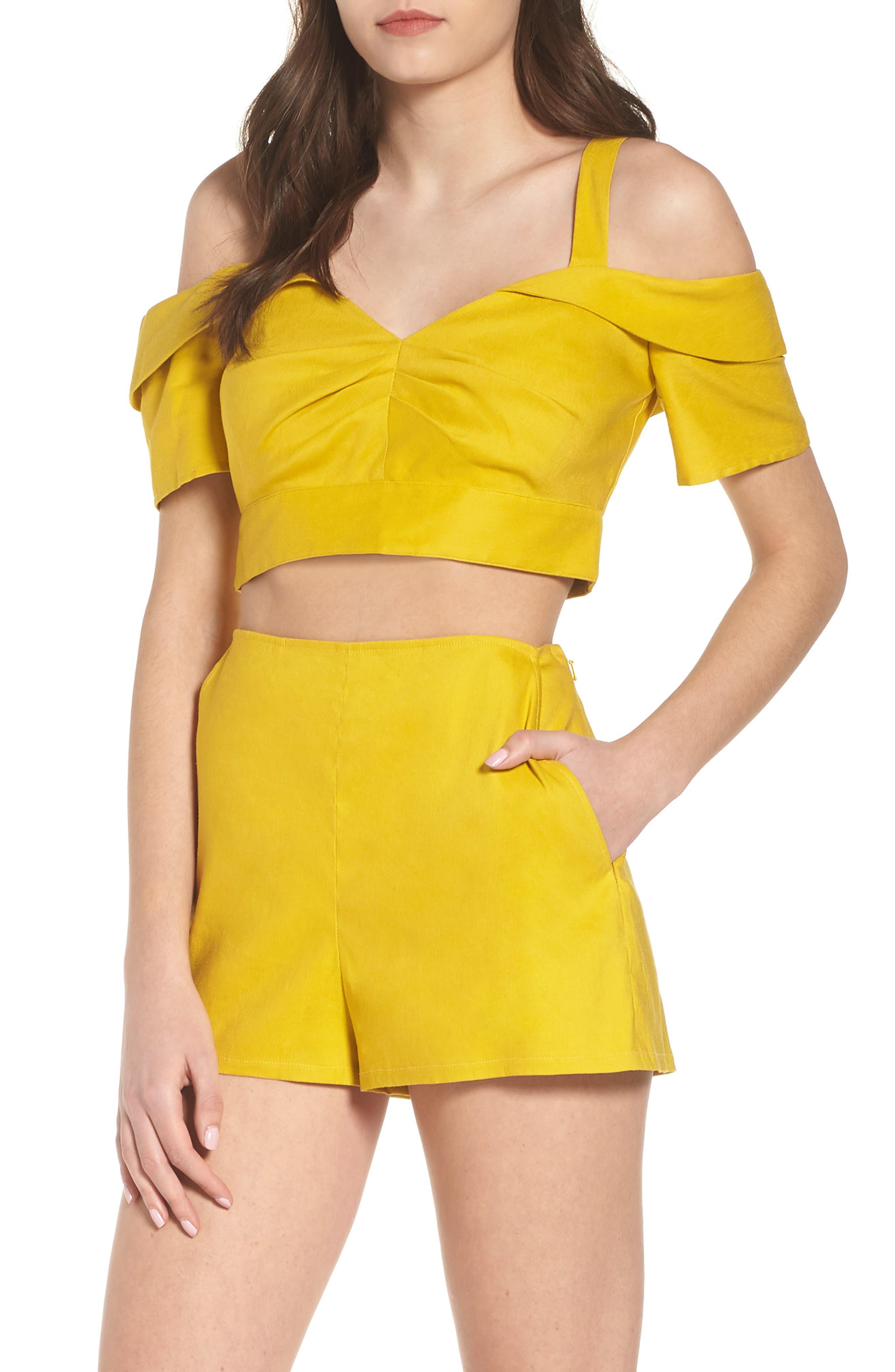 Cold Shoulder Crop Top,                         Main,                         color, Yellow Tea