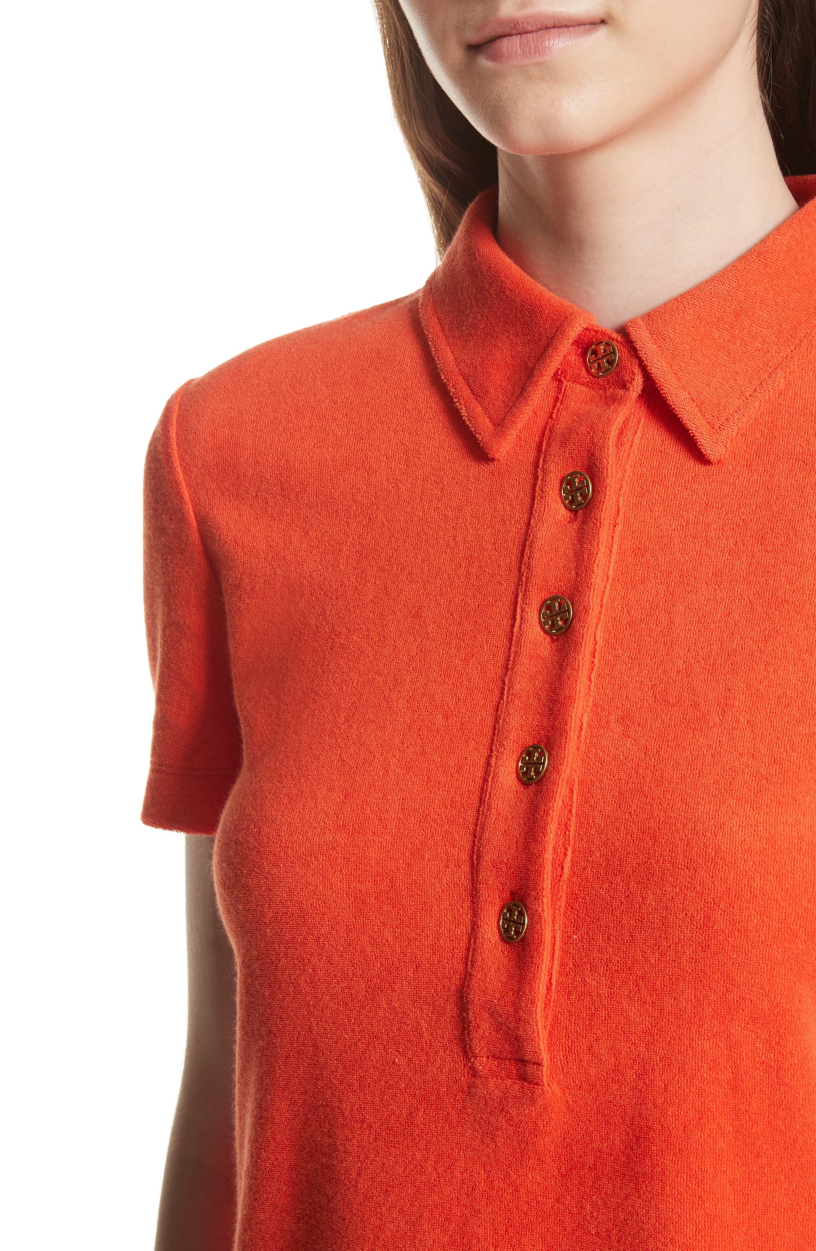 Lennox Terry Cloth Polo,                             Alternate thumbnail 4, color,                             Poppy Red