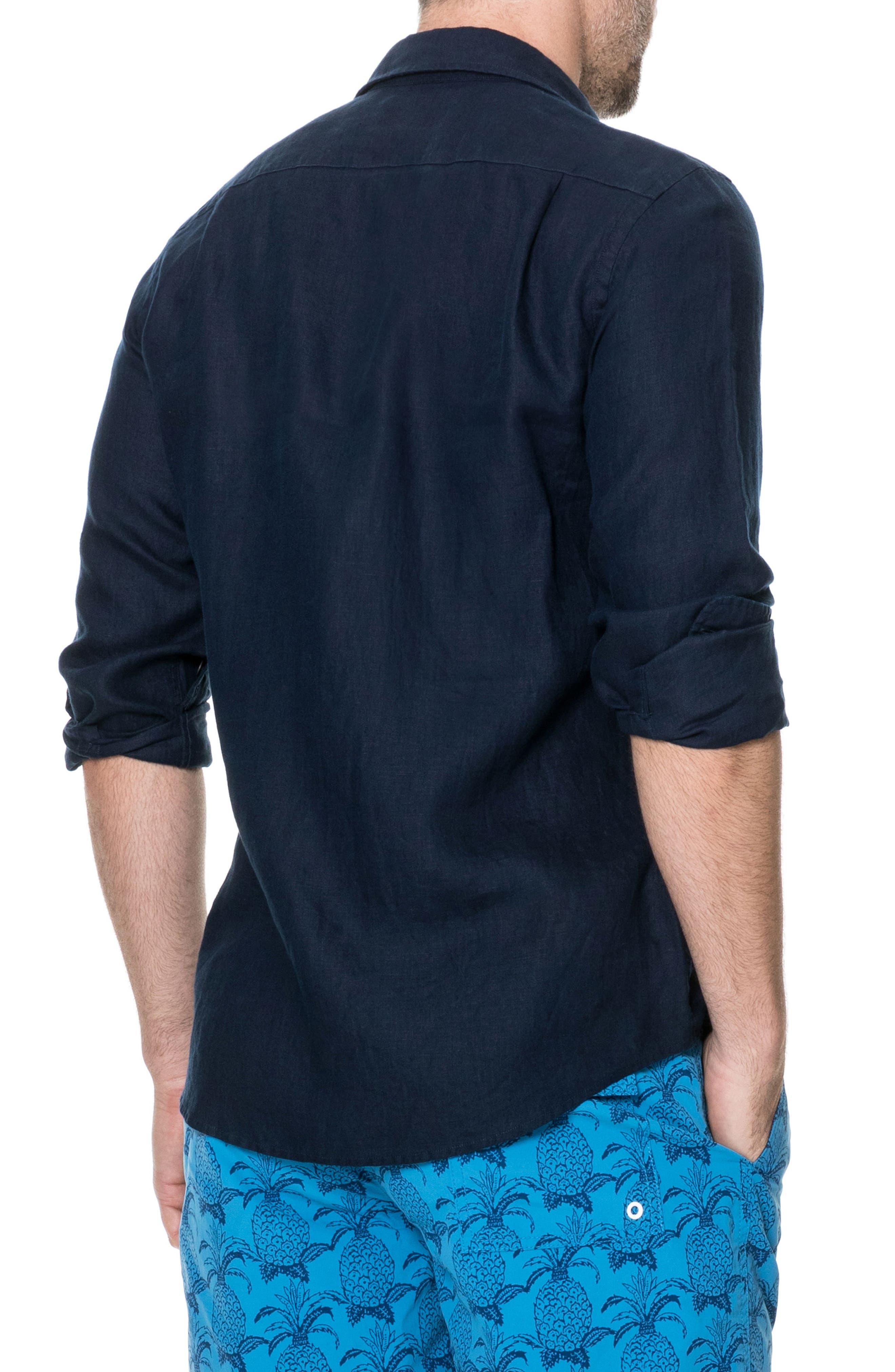 Denver Regular Fit Linen Sport Shirt,                             Alternate thumbnail 3, color,                             Indigo