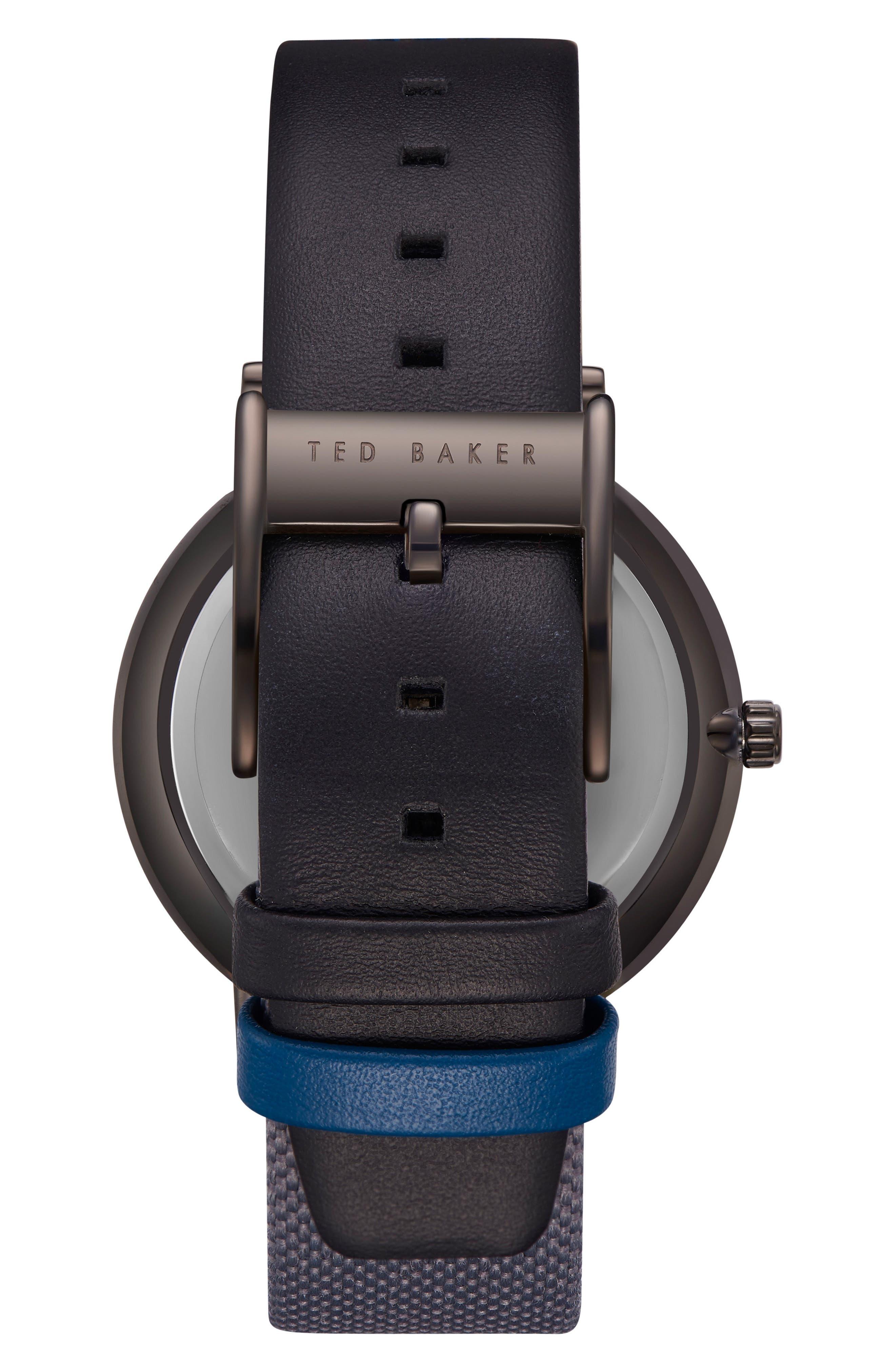 Brit Leather Strap Watch, 40mm,                             Alternate thumbnail 2, color,                             Dark Grey/ Dark Grey