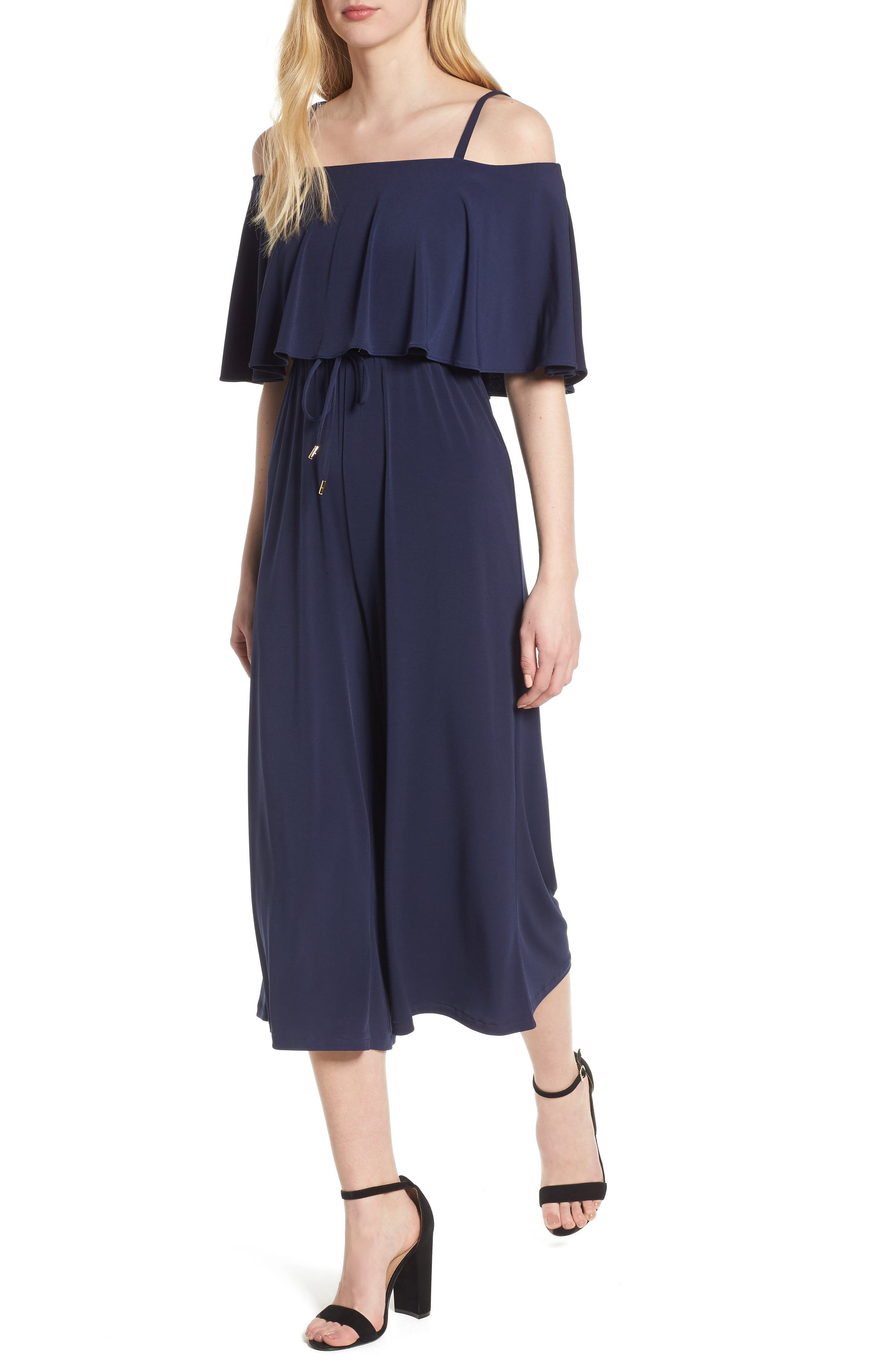 MICHAEL Michael Kors Off the Shoulder Crop Jumpsuit