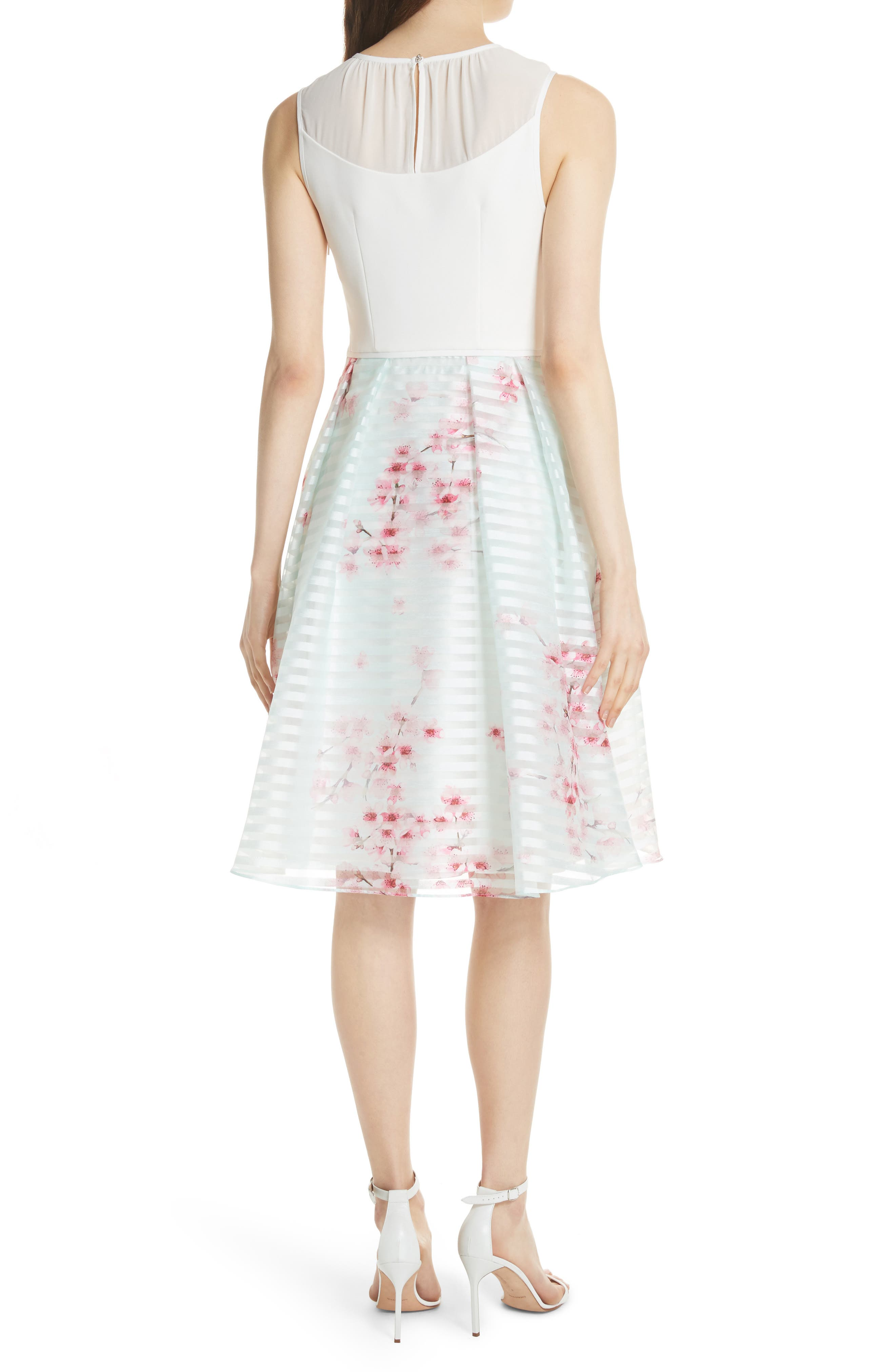 Soft Blossom Fit & Flare Dress,                             Alternate thumbnail 2, color,                             Natural