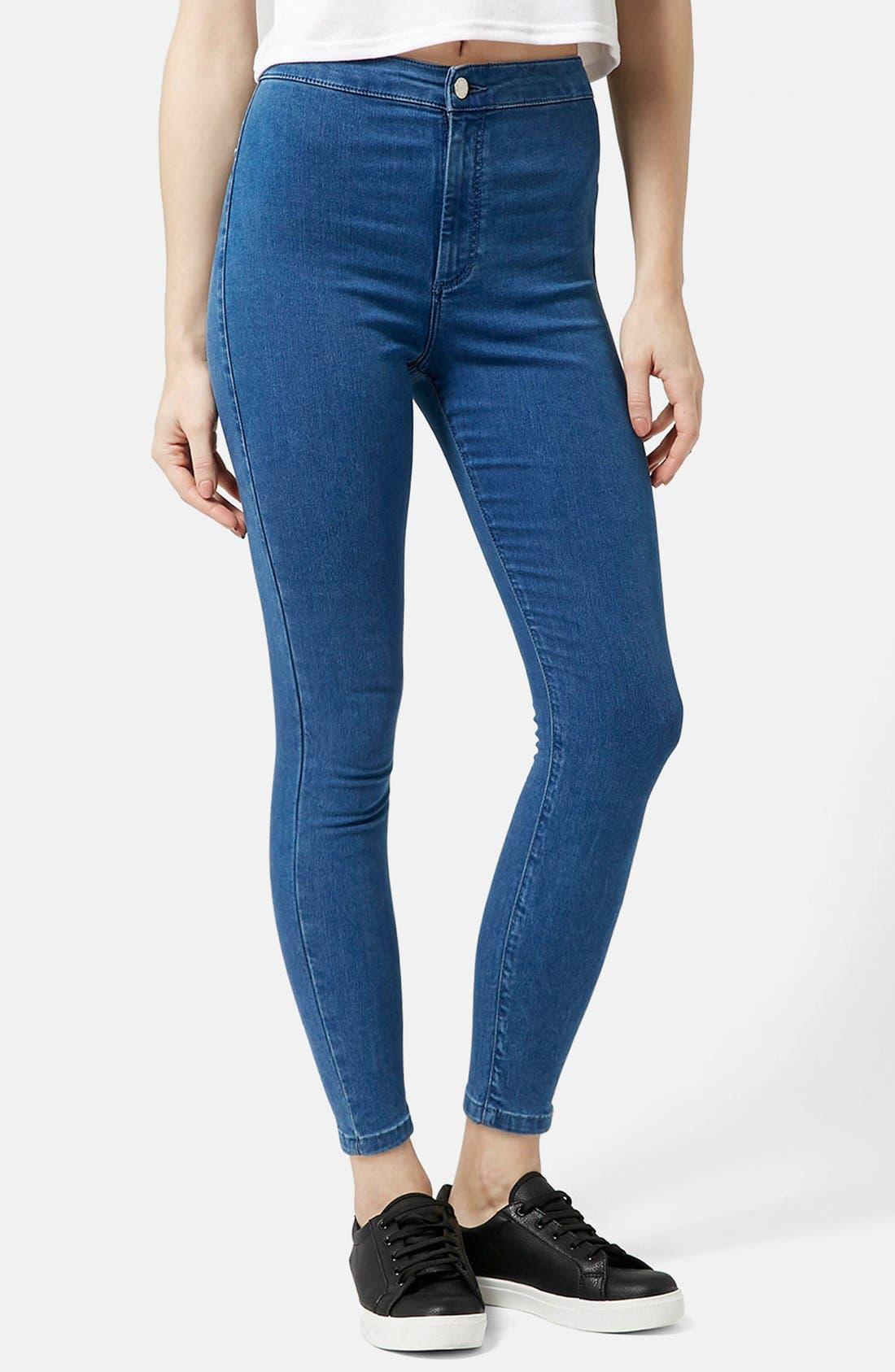Main Image - Topshop Moto 'Joni' High Rise Super Skinny Jeans (Mid Denim) (Petite)