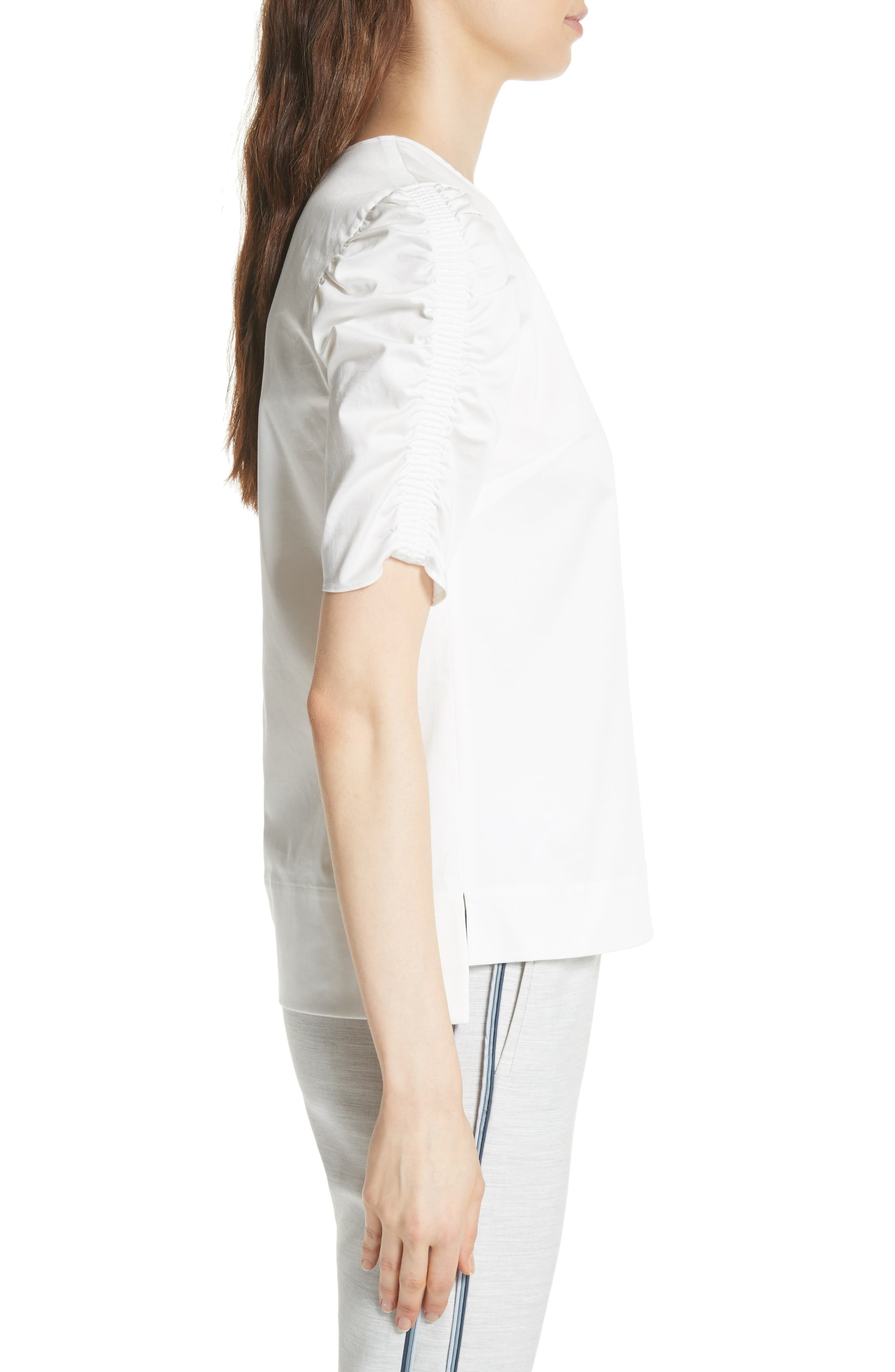 Ruched Sleeve Top,                             Alternate thumbnail 3, color,                             White