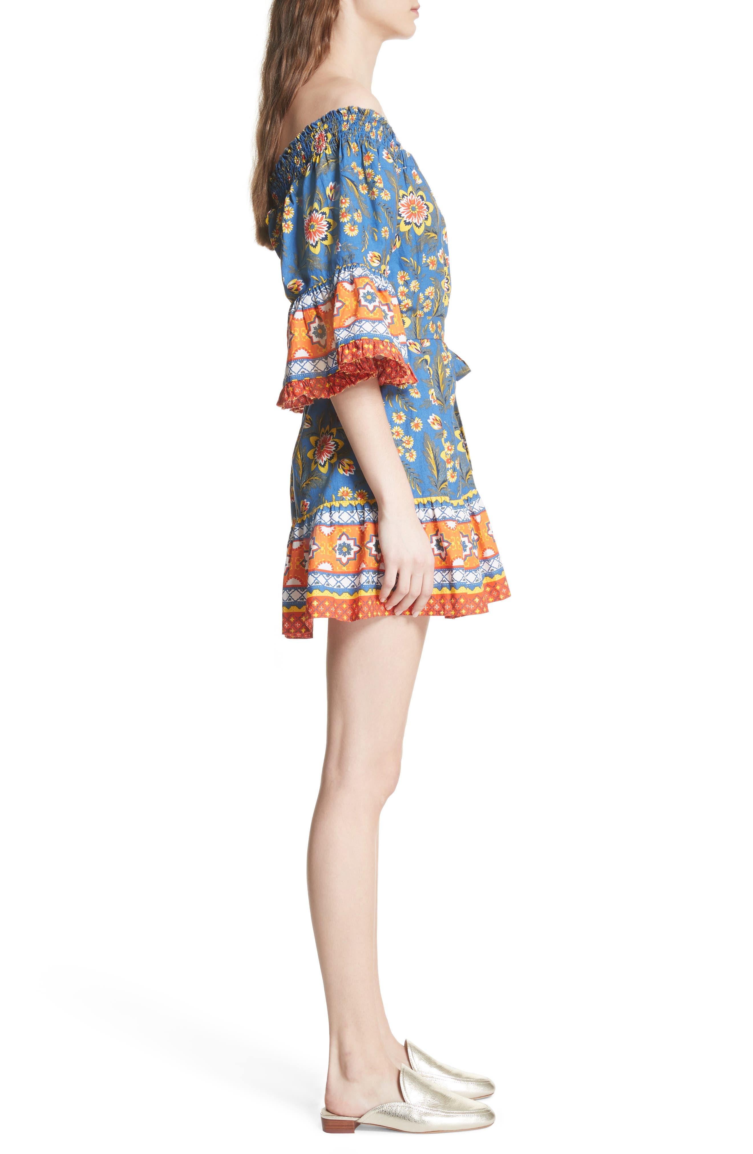 Chloris Off the Shoulder Cotton Dress,                             Alternate thumbnail 3, color,                             Baja Blue