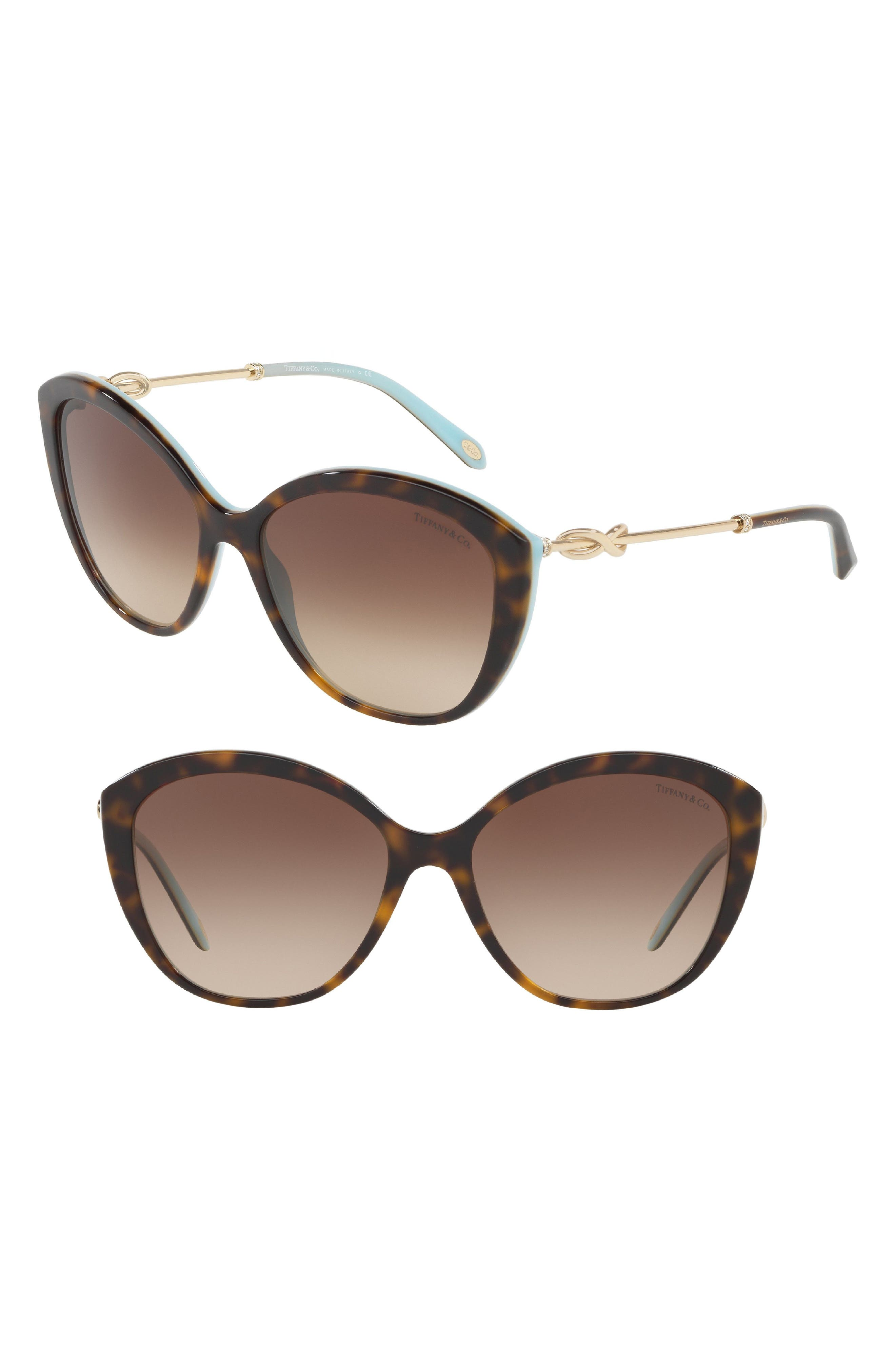 Tiffany 57mm Cat Eye Sunglasses,                             Main thumbnail 1, color,                             Blue Havana Gradient