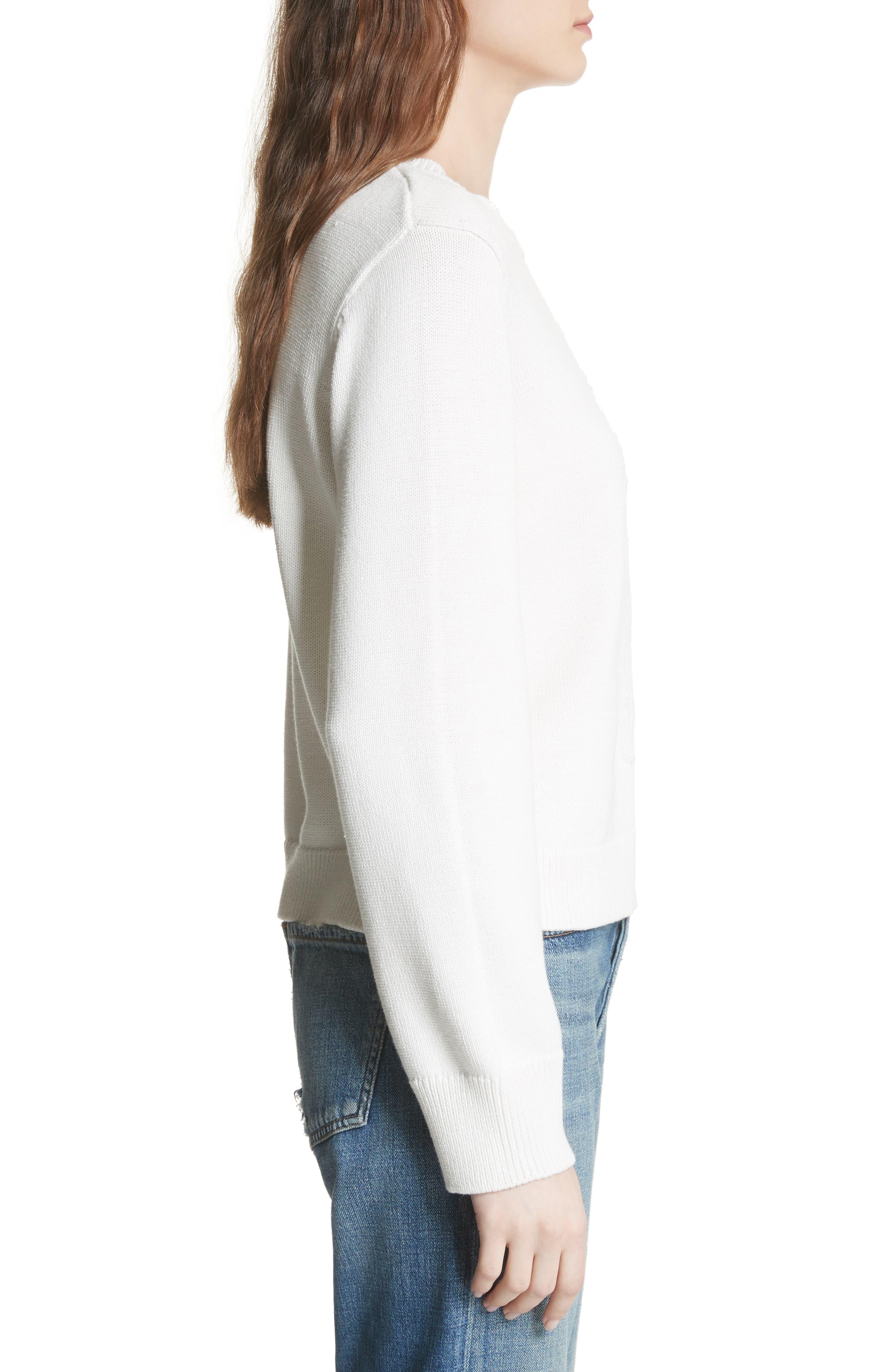 Barin Pineapple Cotton Sweater,                             Alternate thumbnail 3, color,                             Porcelain