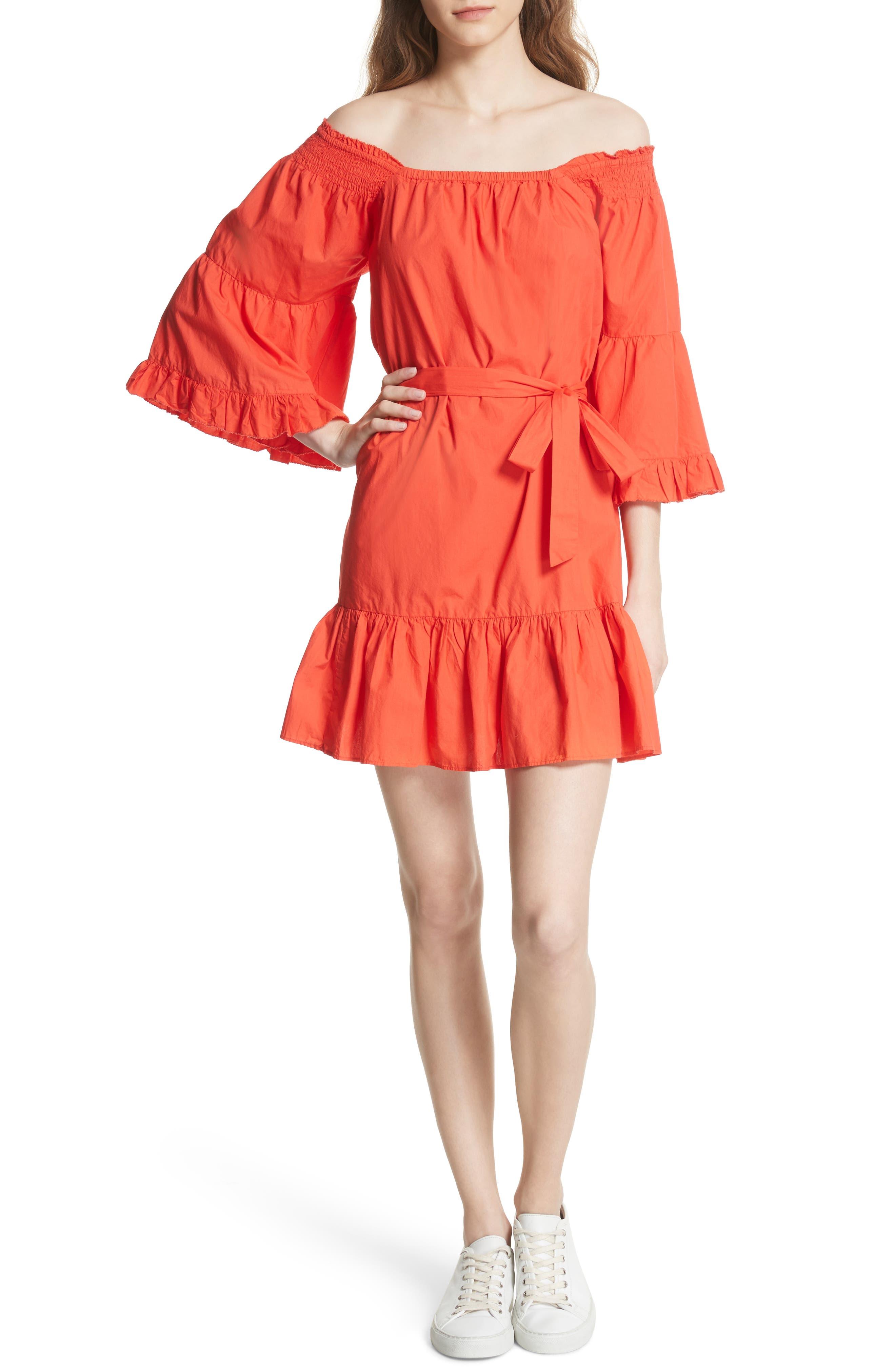 Colstona Ruffle Cotton Dress,                             Main thumbnail 1, color,                             Salsa