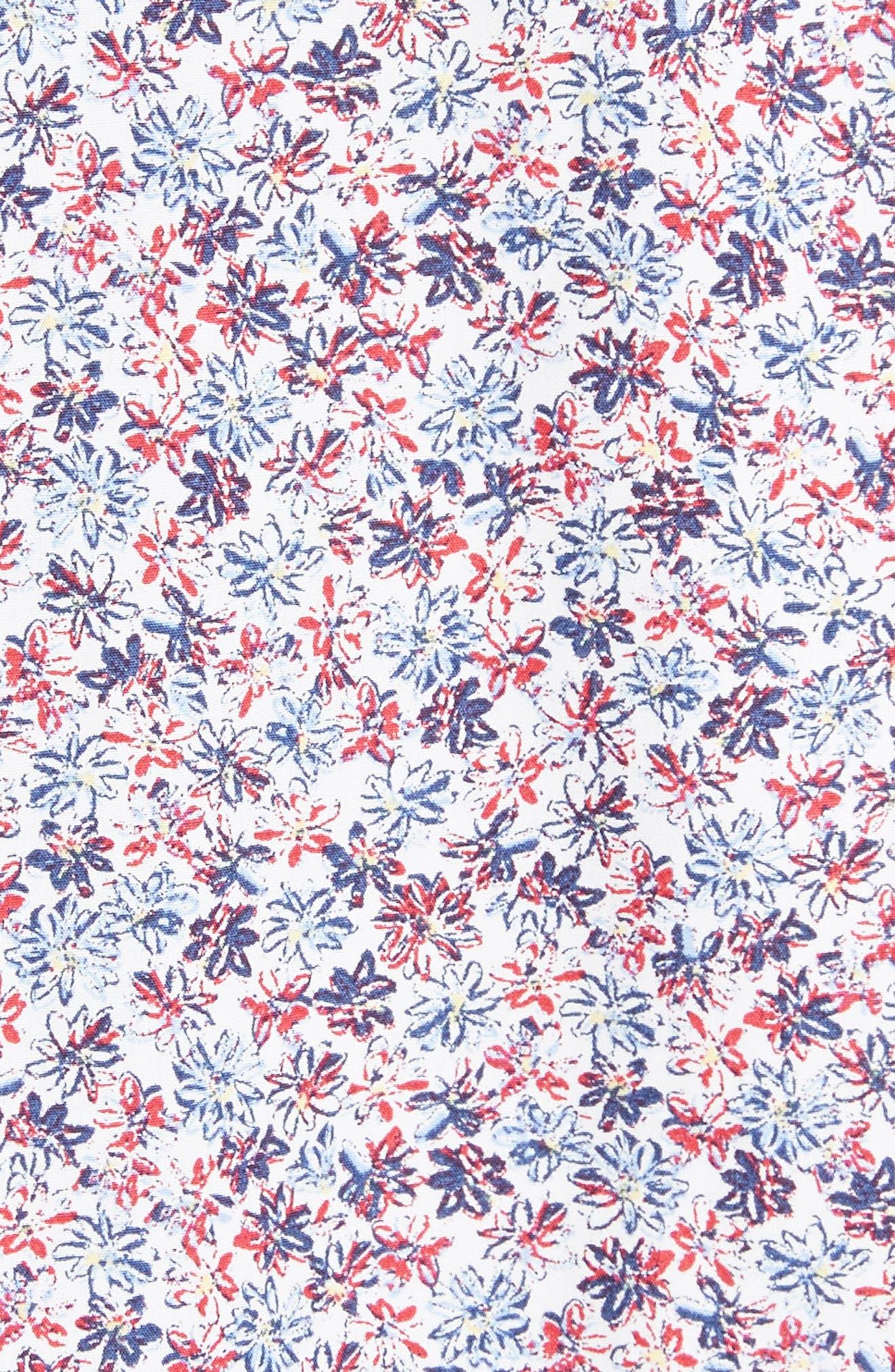 Regular Fit Floral Sport Shirt,                             Alternate thumbnail 5, color,                             White/ Red/ Navy