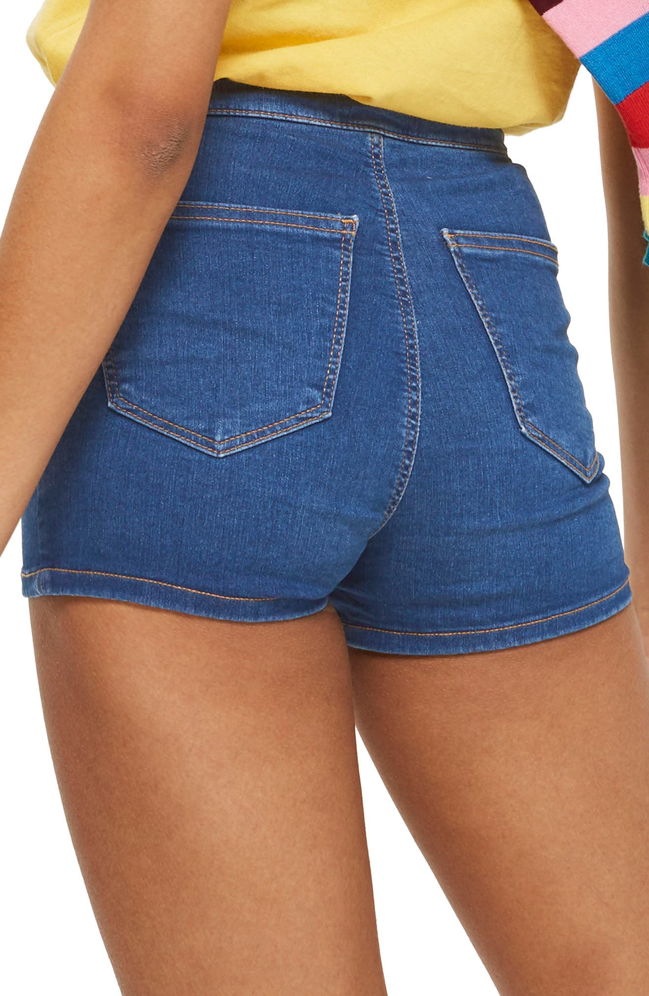 MOTO Joni Mid Denim Shorts,                             Alternate thumbnail 3, color,                             Mid Denim