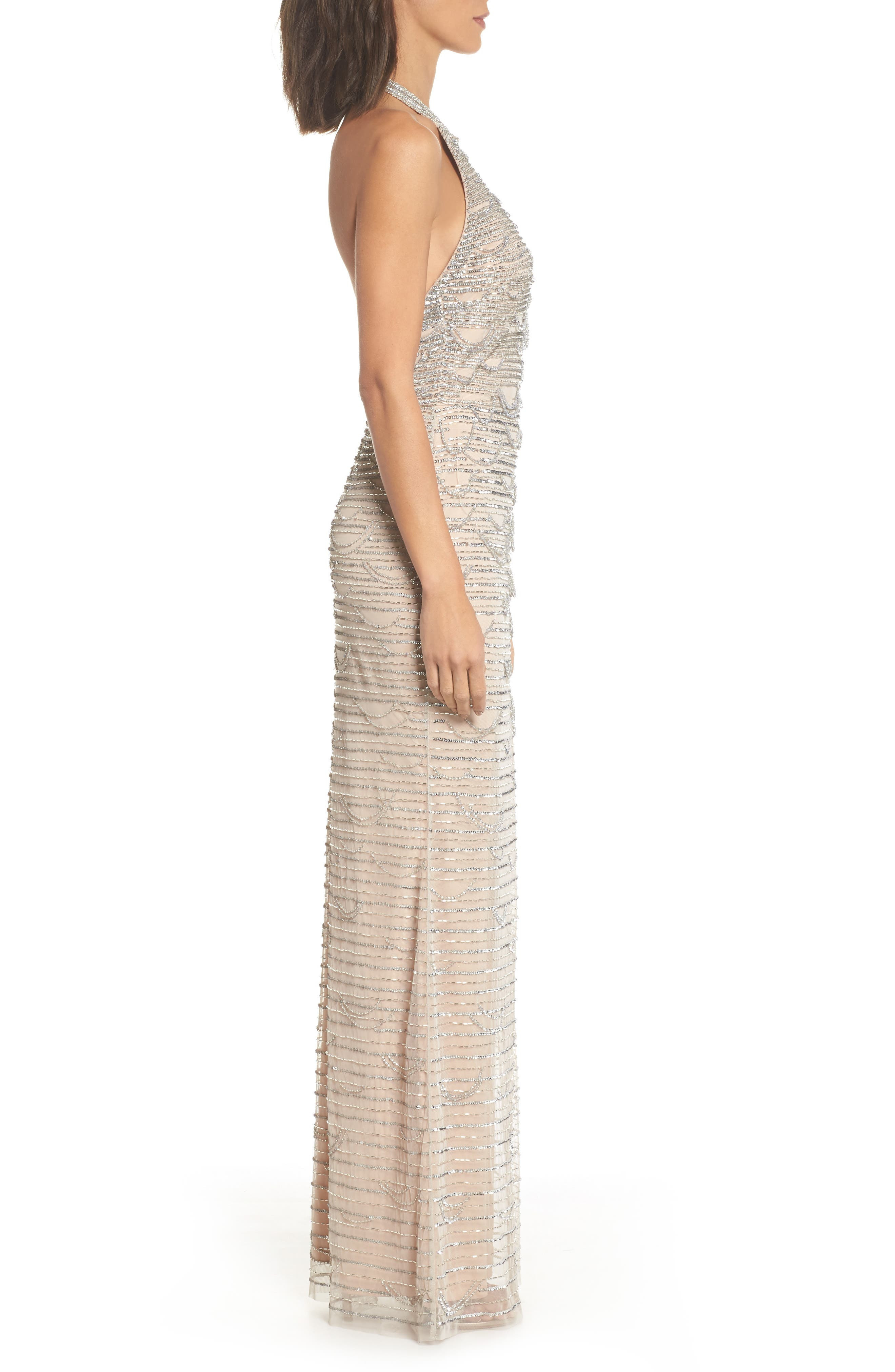Beaded Halter Gown,                             Alternate thumbnail 3, color,                             Silver/ Nude