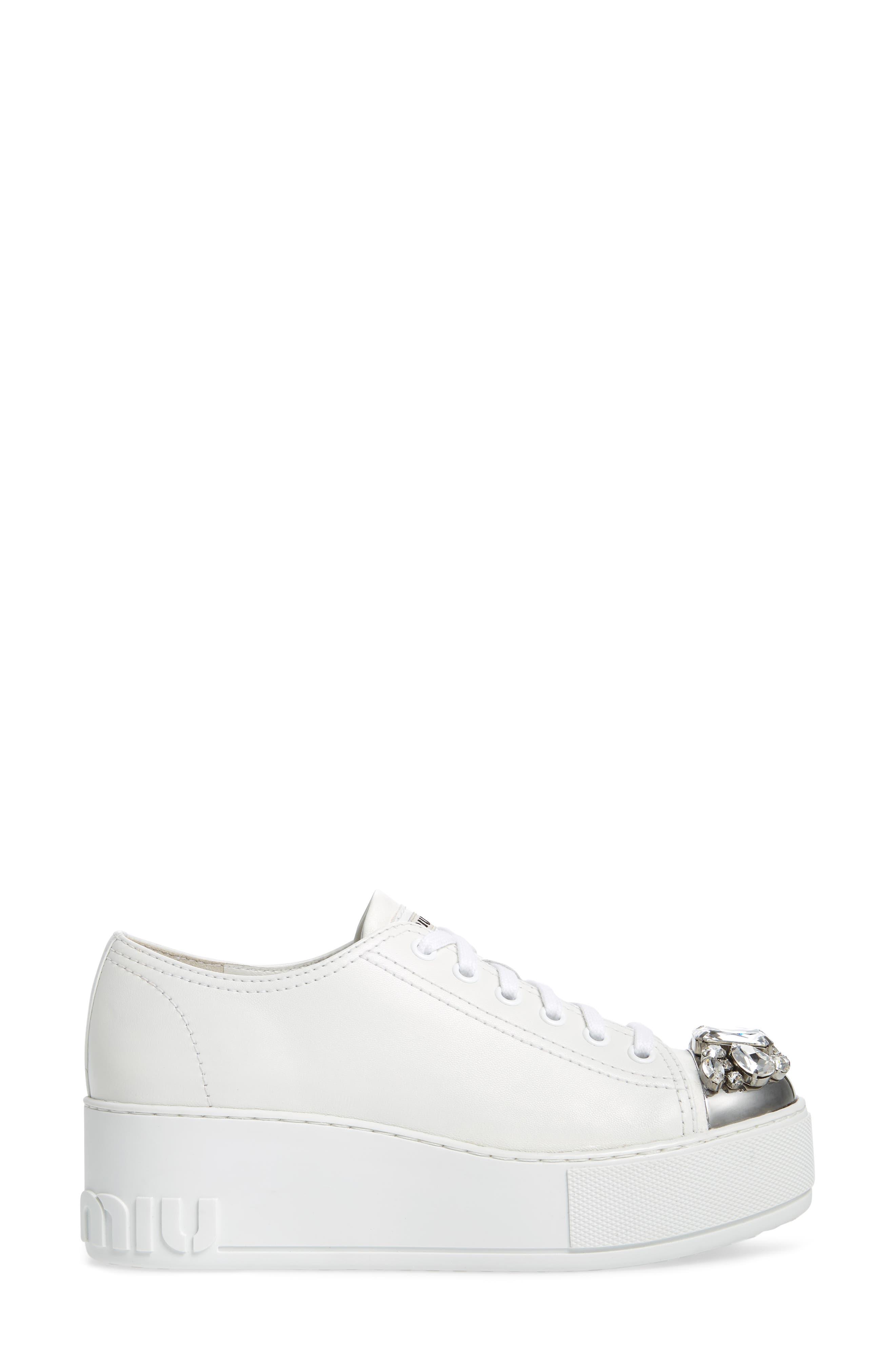 Crystal Cap Toe Sneaker,                             Alternate thumbnail 3, color,                             White