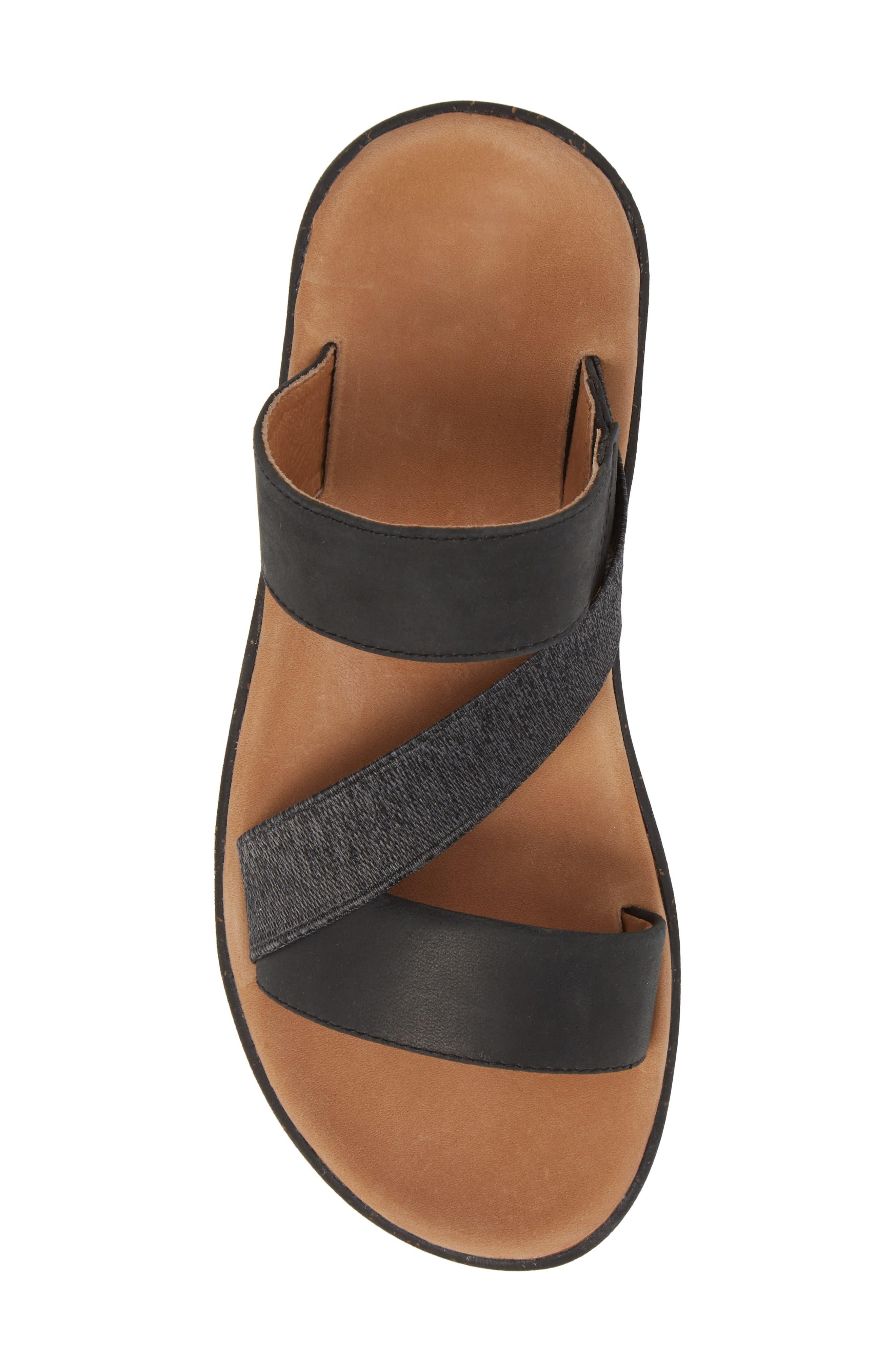 Reyes Slide Sandal,                             Alternate thumbnail 5, color,                             Black Leather
