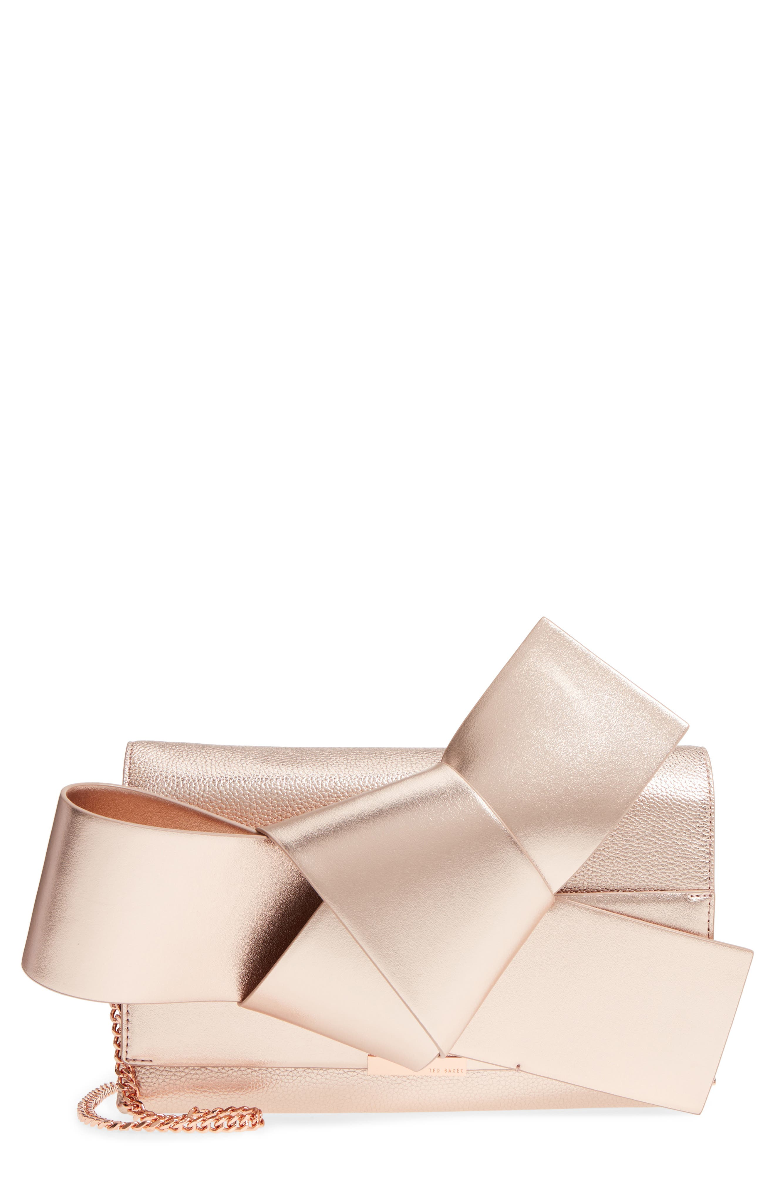 Knotted Bow Leather Clutch,                             Main thumbnail 1, color,                             Rose Gold