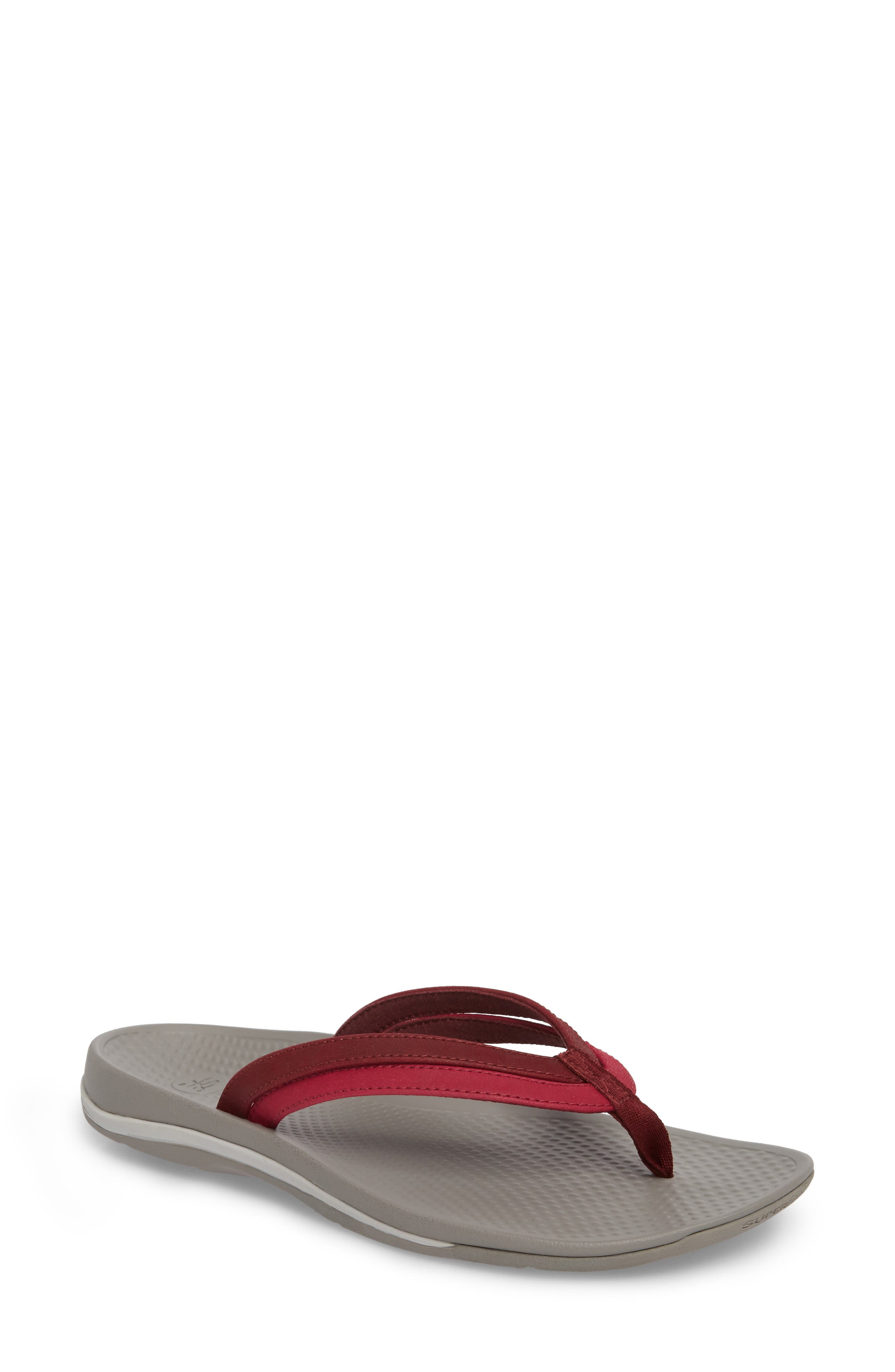 Rose Flip Flop,                             Main thumbnail 1, color,                             Red Faux Leather
