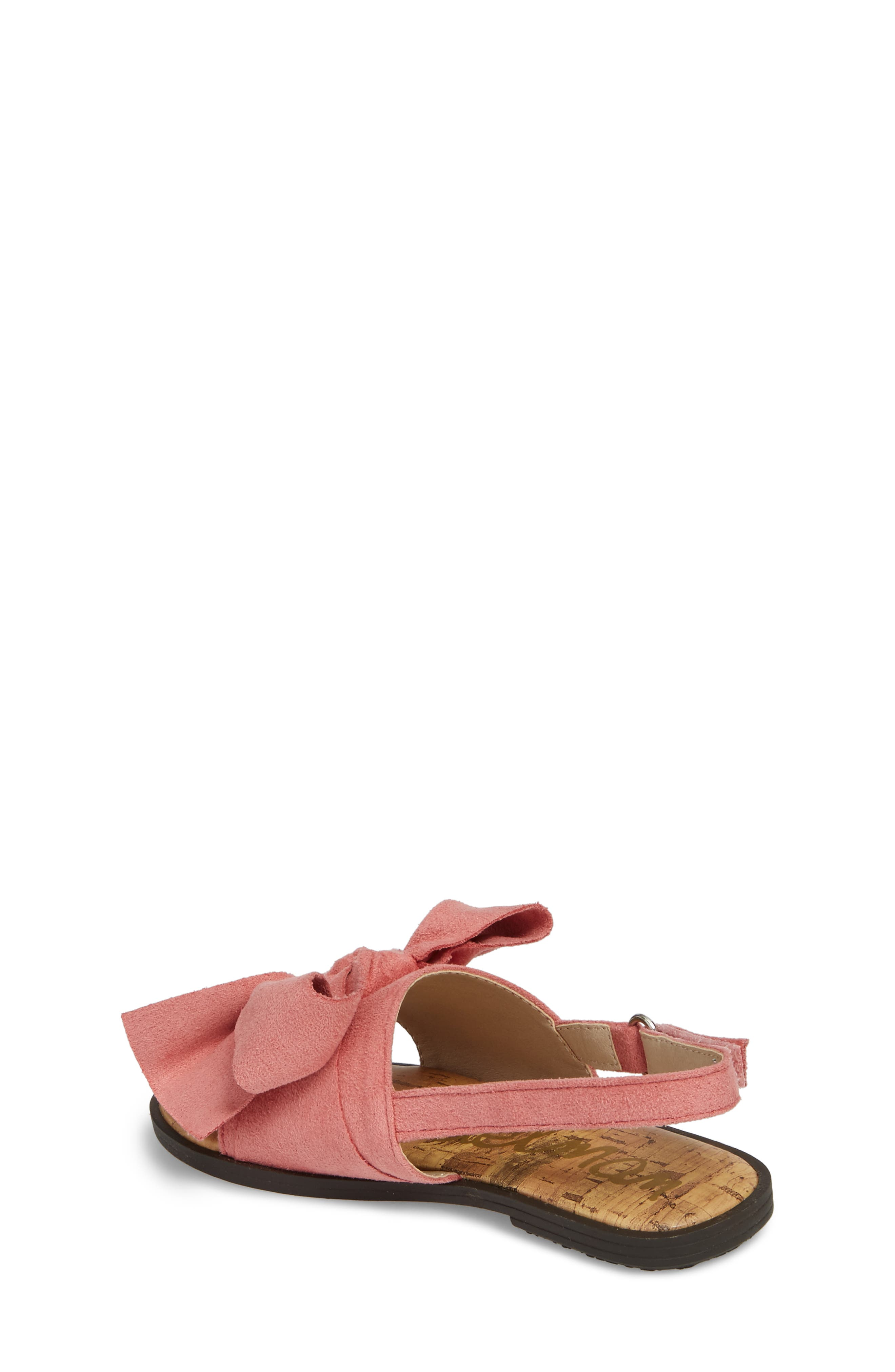 Gigi Bow Sandal,                             Alternate thumbnail 2, color,                             Pink Faux Suede