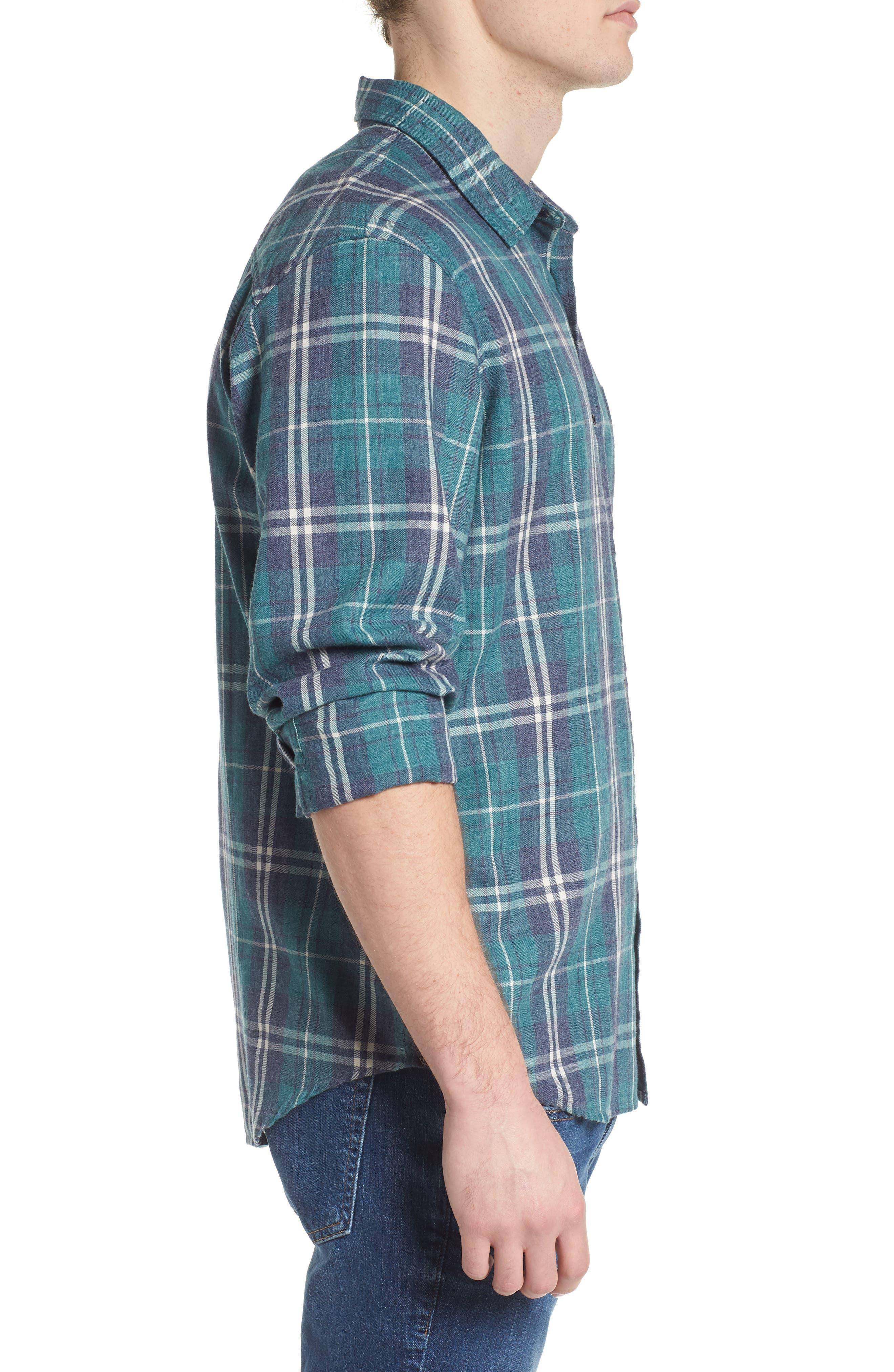 Lennox Slim Fit Plaid Woven Shirt,                             Alternate thumbnail 3, color,                             Veridian Navy White