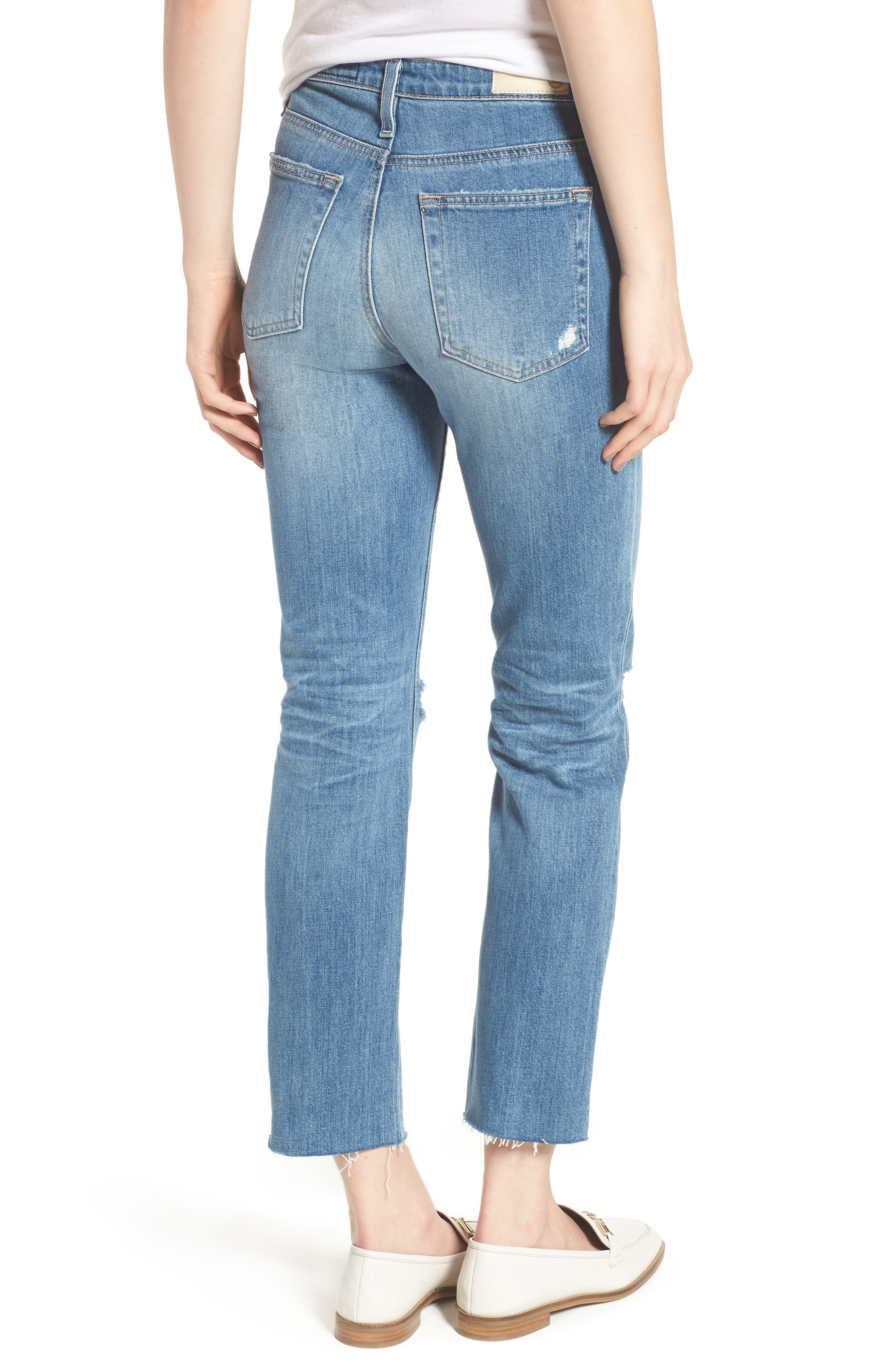 The Isabelle High Waist Crop Straight Leg Jeans,                             Alternate thumbnail 2, color,                             13 Years-Saltwater
