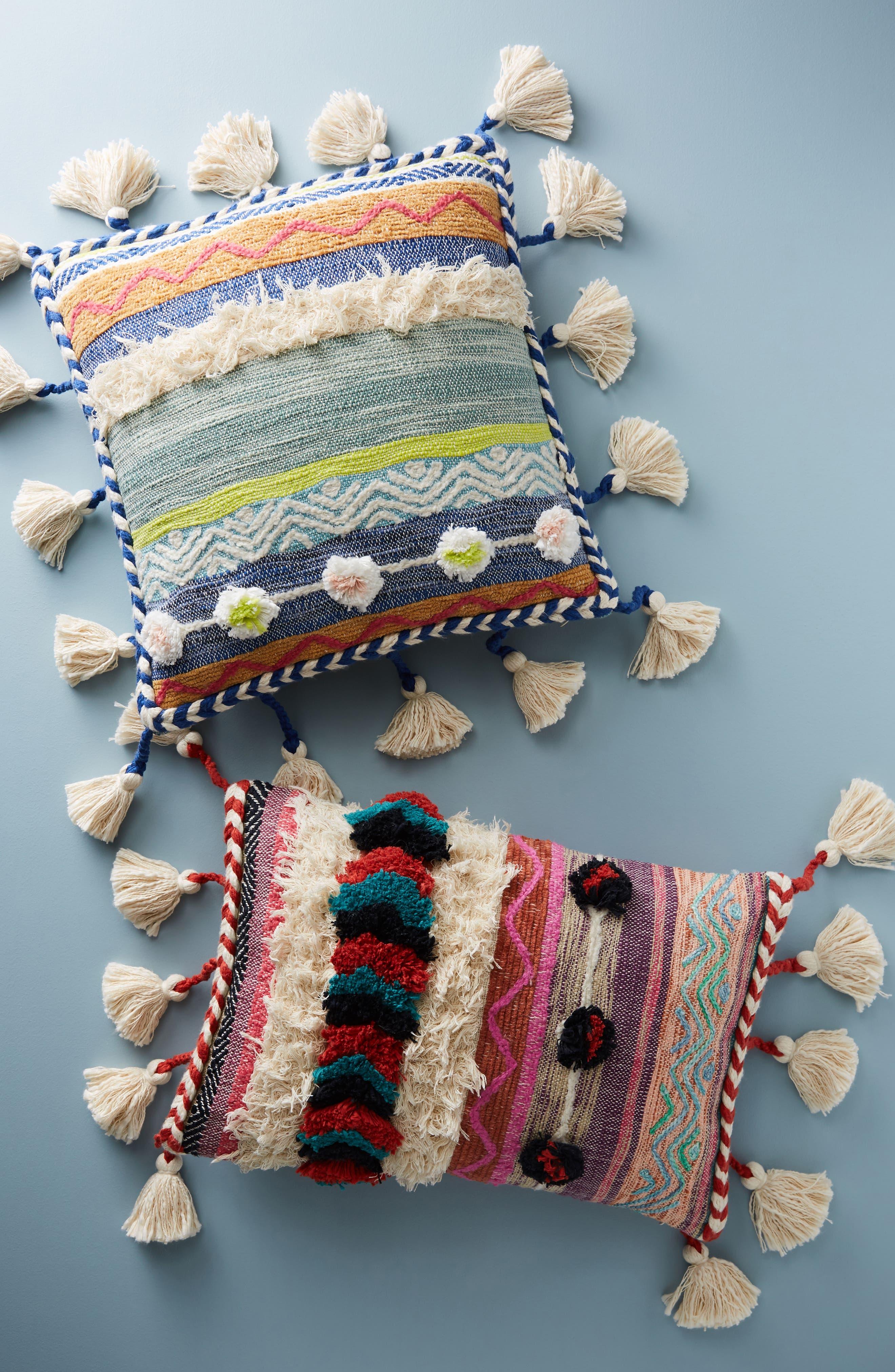 Woven Rami Accent Pillow,                             Alternate thumbnail 4, color,                             Blue Combo
