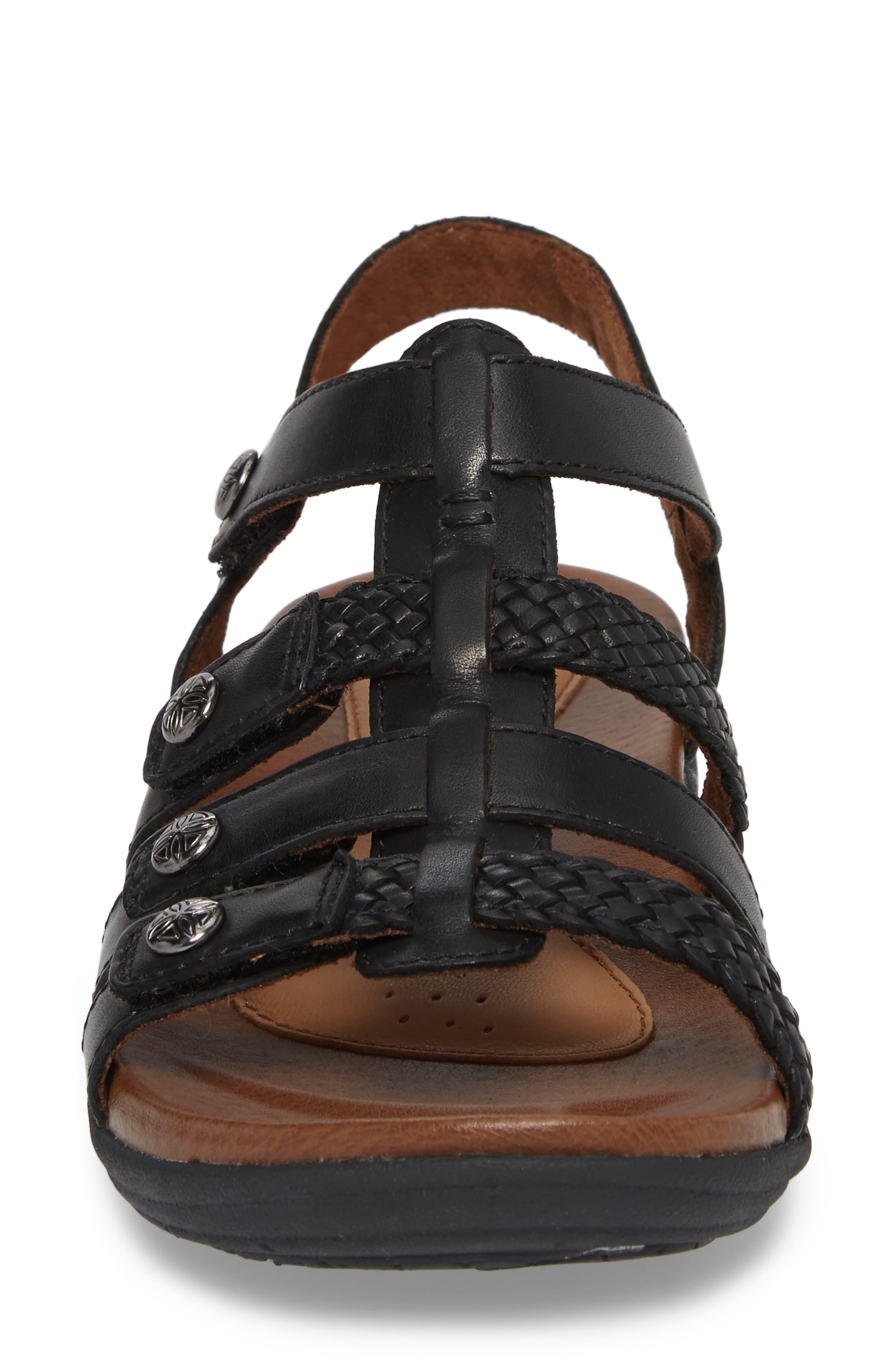 Rubey T-Strap Sandal,                             Alternate thumbnail 4, color,                             Black Leather