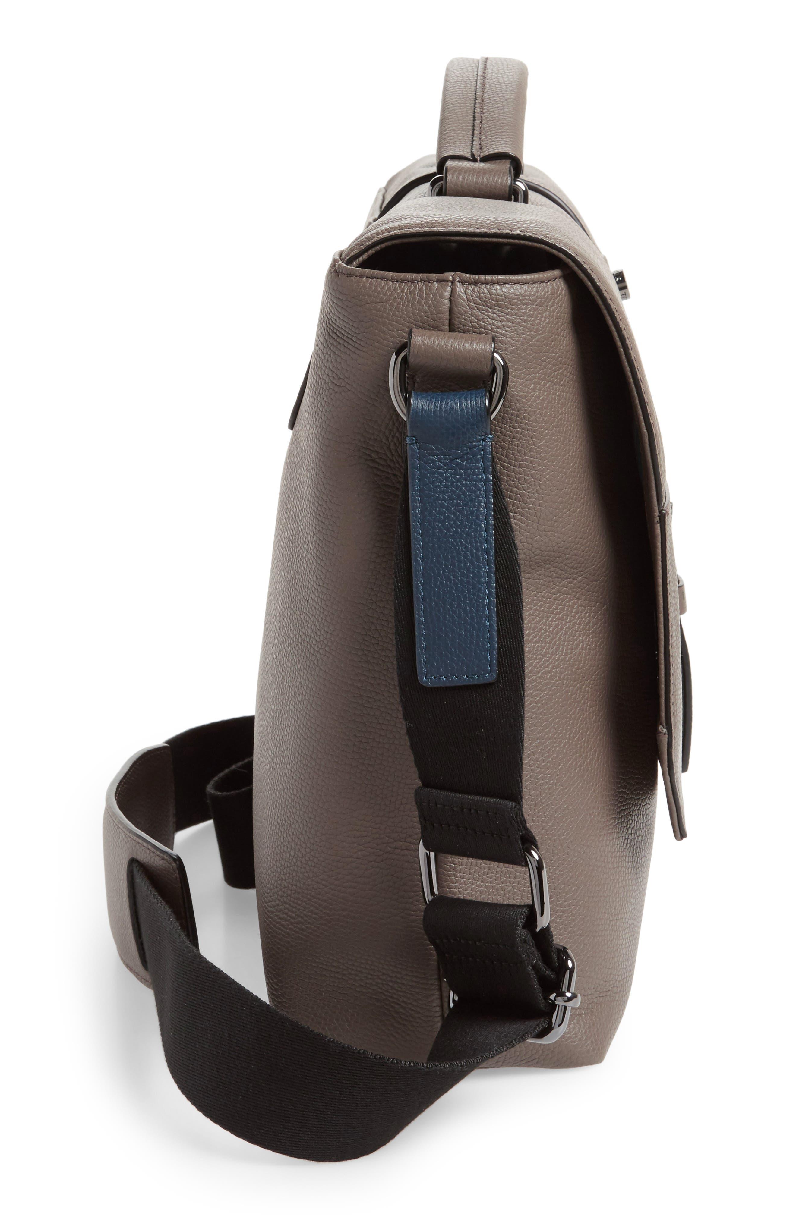 Ted Baker Sandune Leather Messenger Bag,                             Alternate thumbnail 4, color,                             Grey