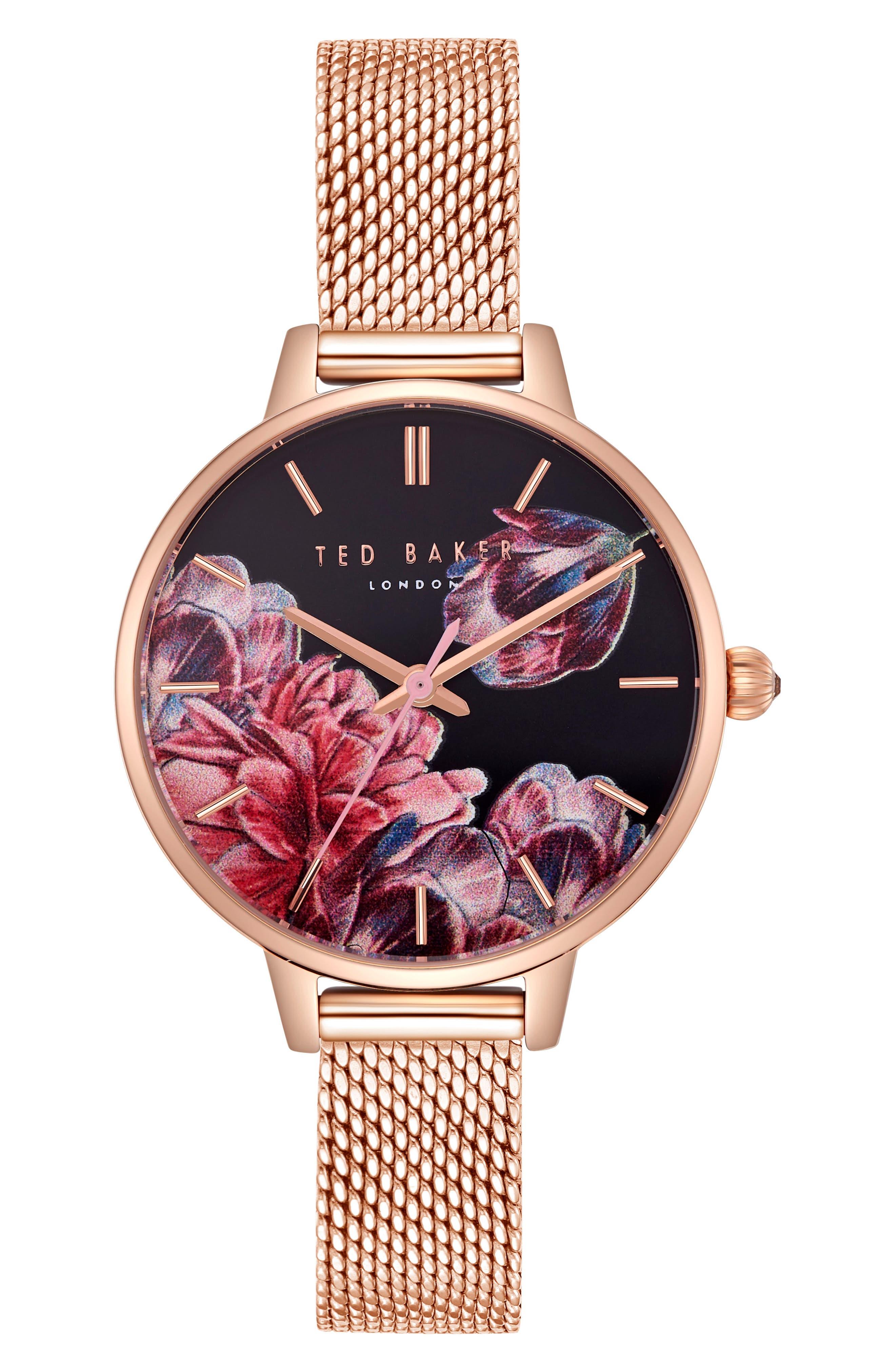 Kate Mesh Strap Watch, 32mm,                             Main thumbnail 1, color,                             Rose Gold/ Printed/ Rose Gold