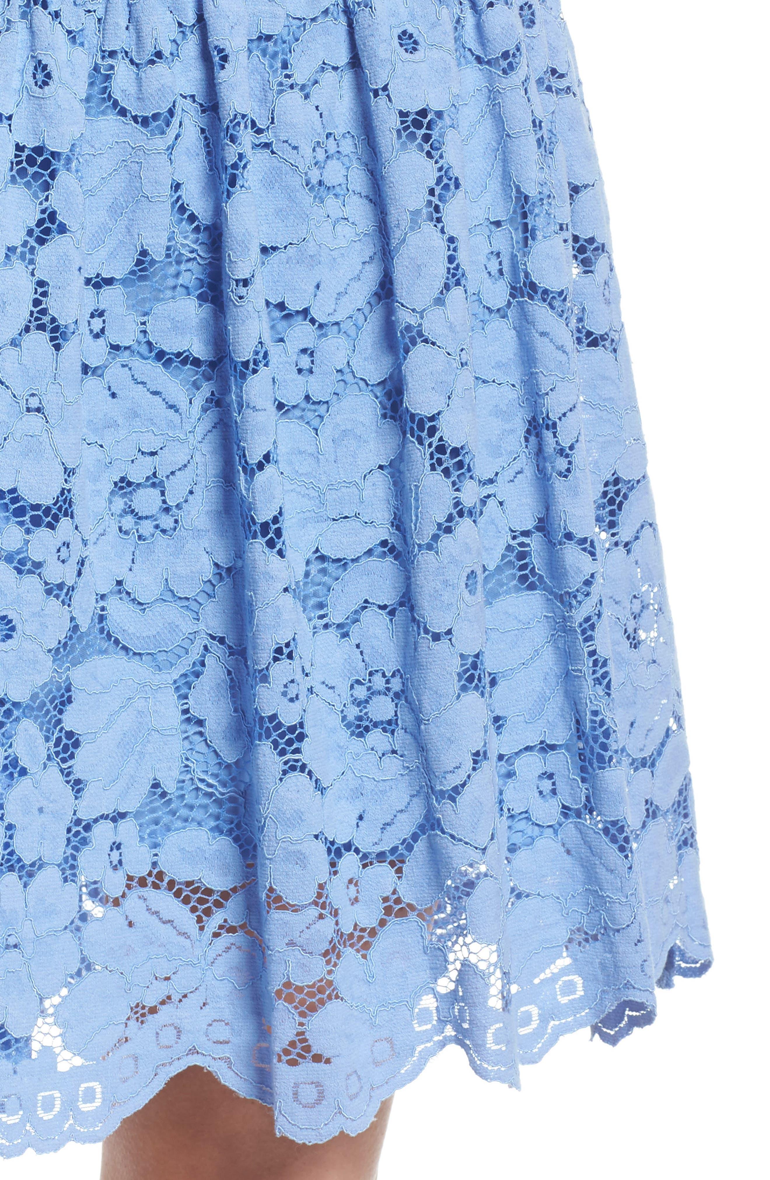 Lace Drop Waist Dress,                             Alternate thumbnail 4, color,                             Cornflower