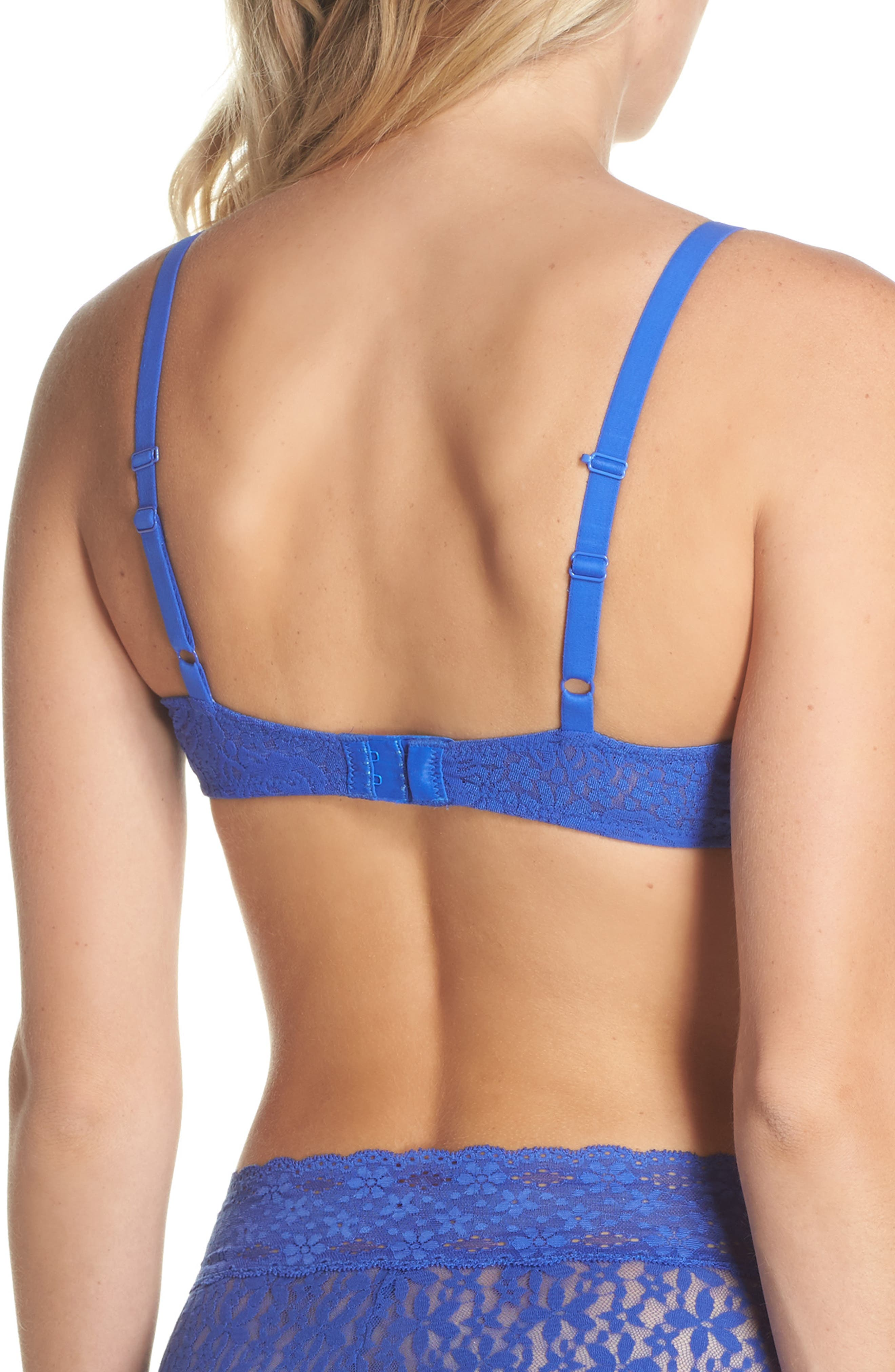 'Halo Lace' Convertible Underwire Bra,                             Alternate thumbnail 2, color,                             Dazzling Blue