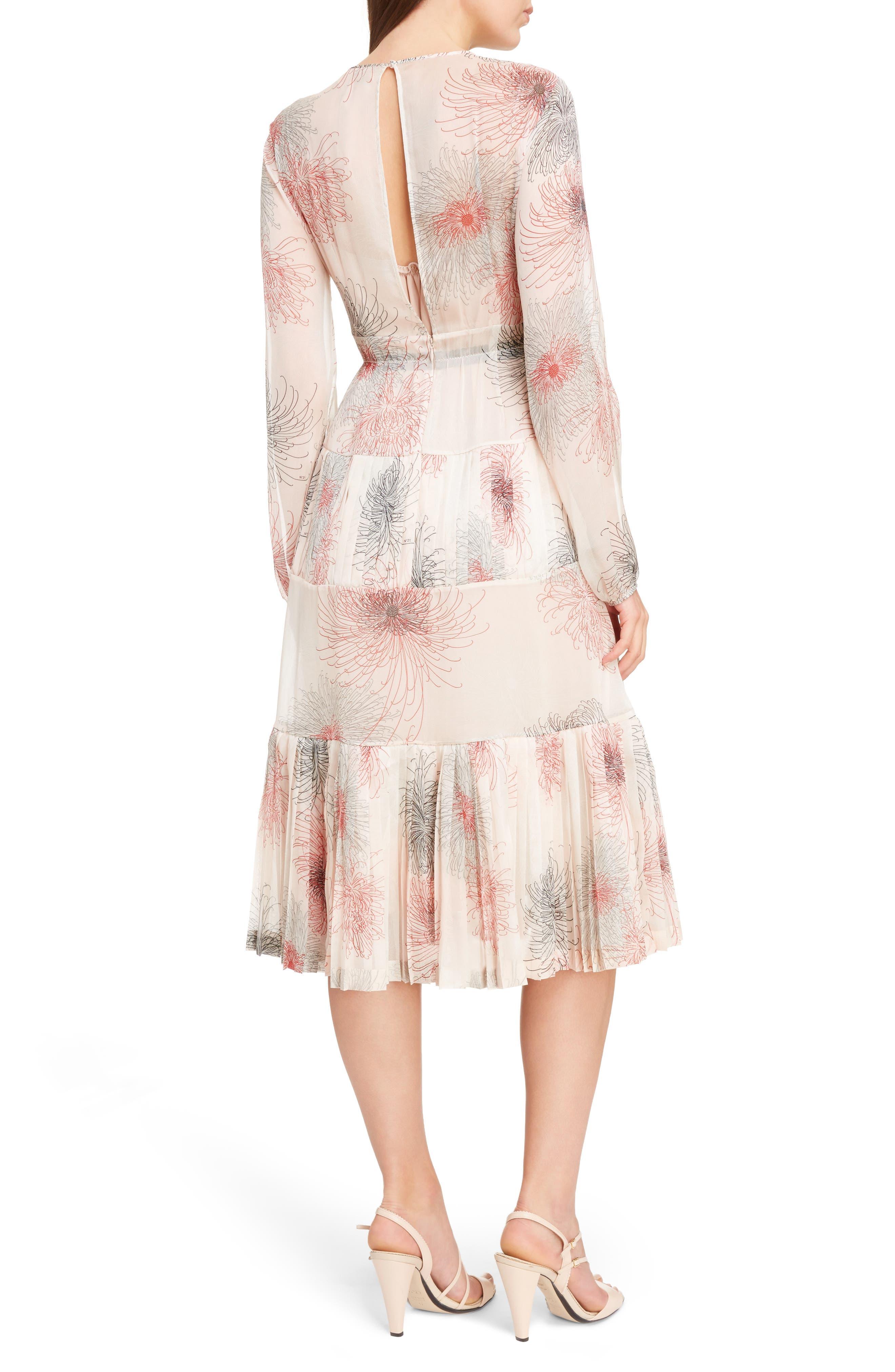 Nº21 Floral Print Tiered Silk Dress,                             Alternate thumbnail 2, color,                             Pink
