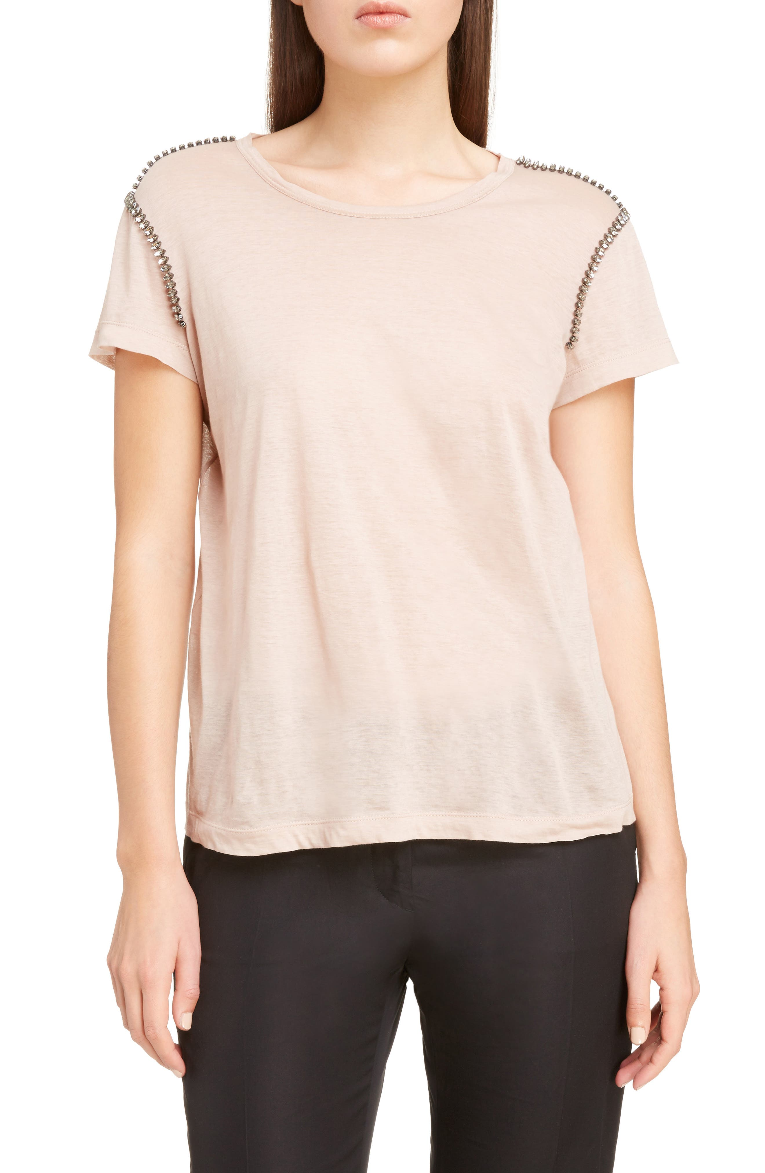 Crystal Embellished Tee,                         Main,                         color, Cipria