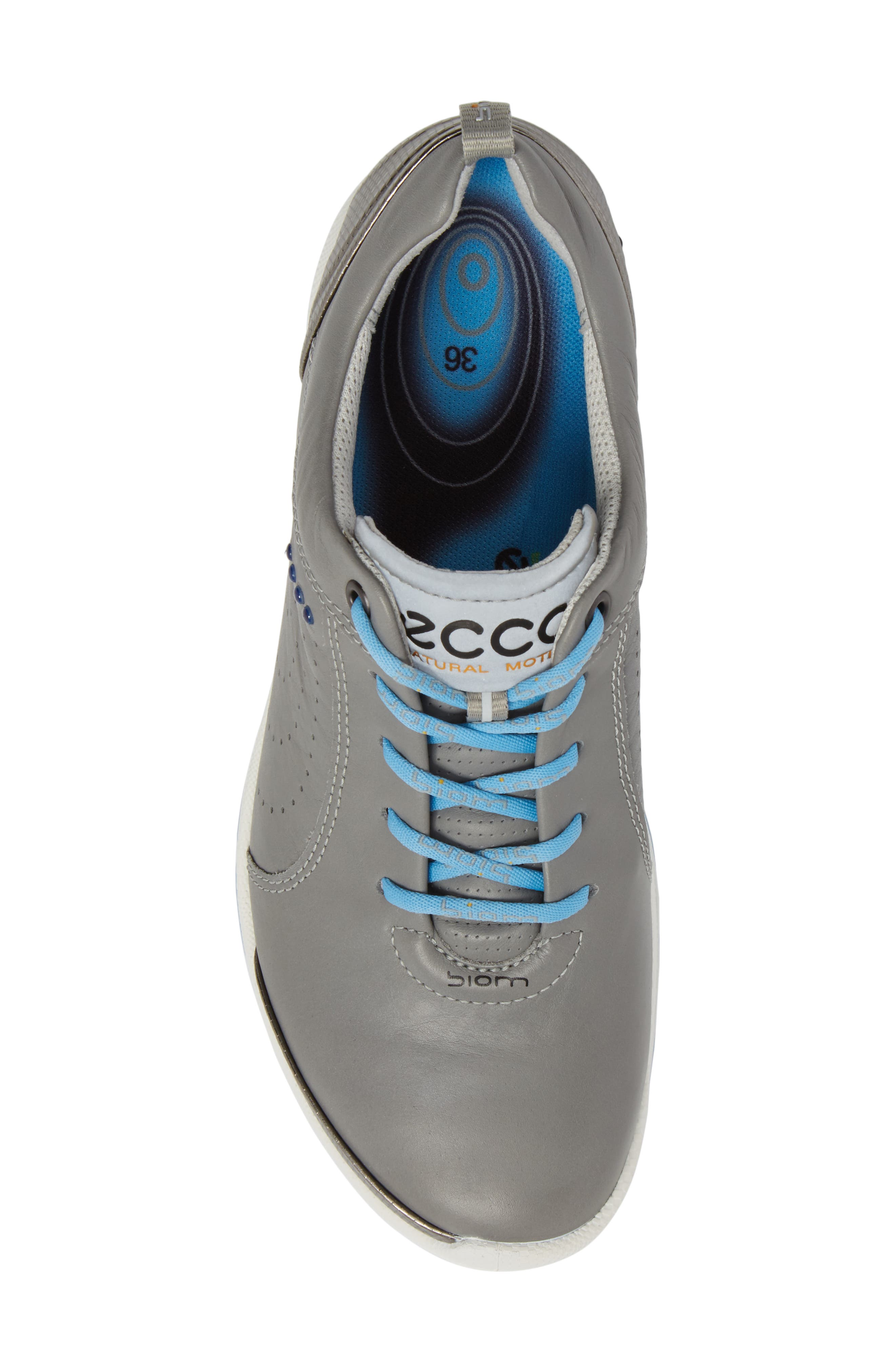 BIOM 2 Waterproof Golf Shoe,                             Alternate thumbnail 5, color,                             Wild Dove/ Sky Blue Leather