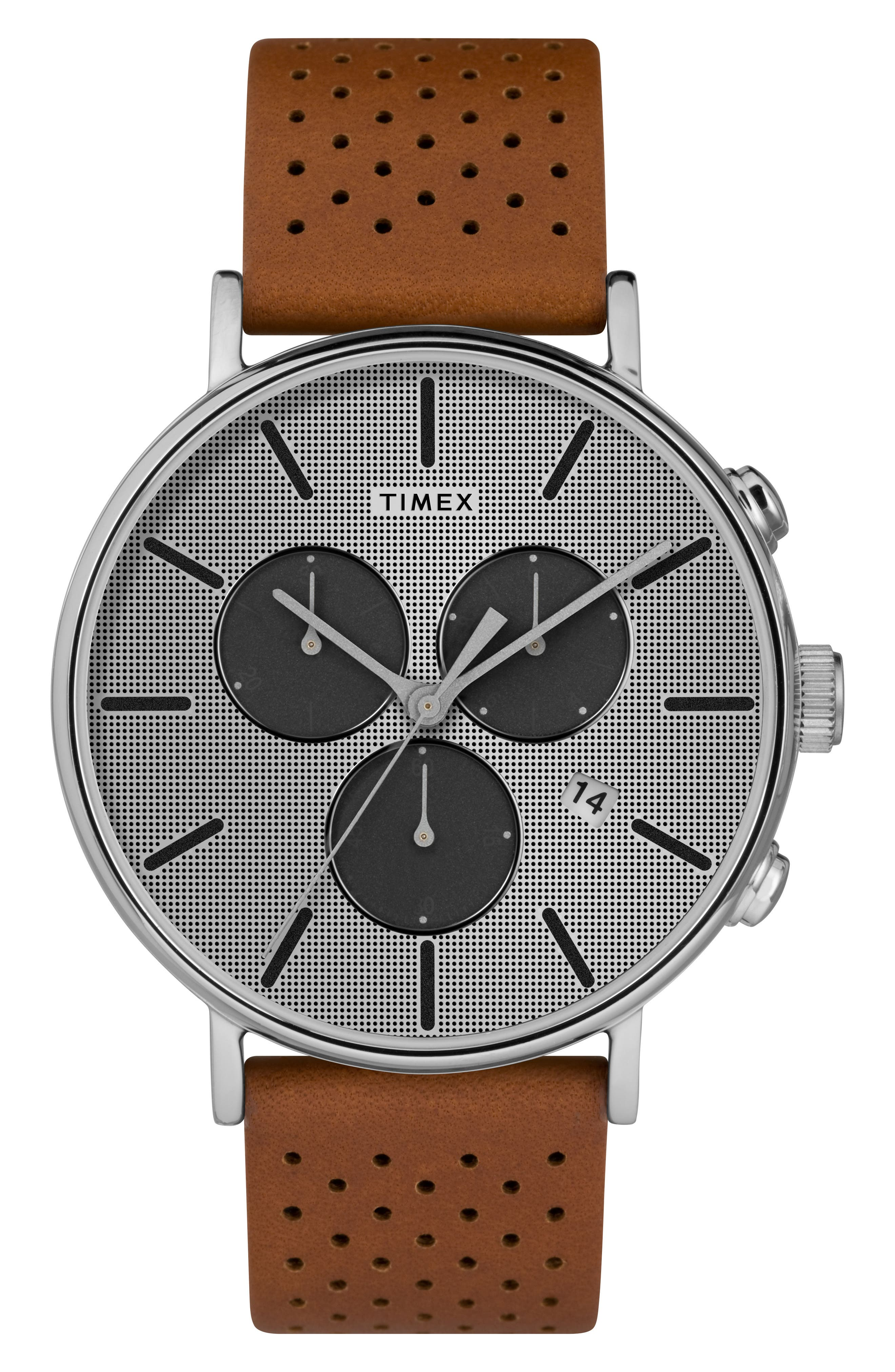 Fairfield Chronograph Leather Strap Watch, 41mm,                         Main,                         color, Beige/ Silver