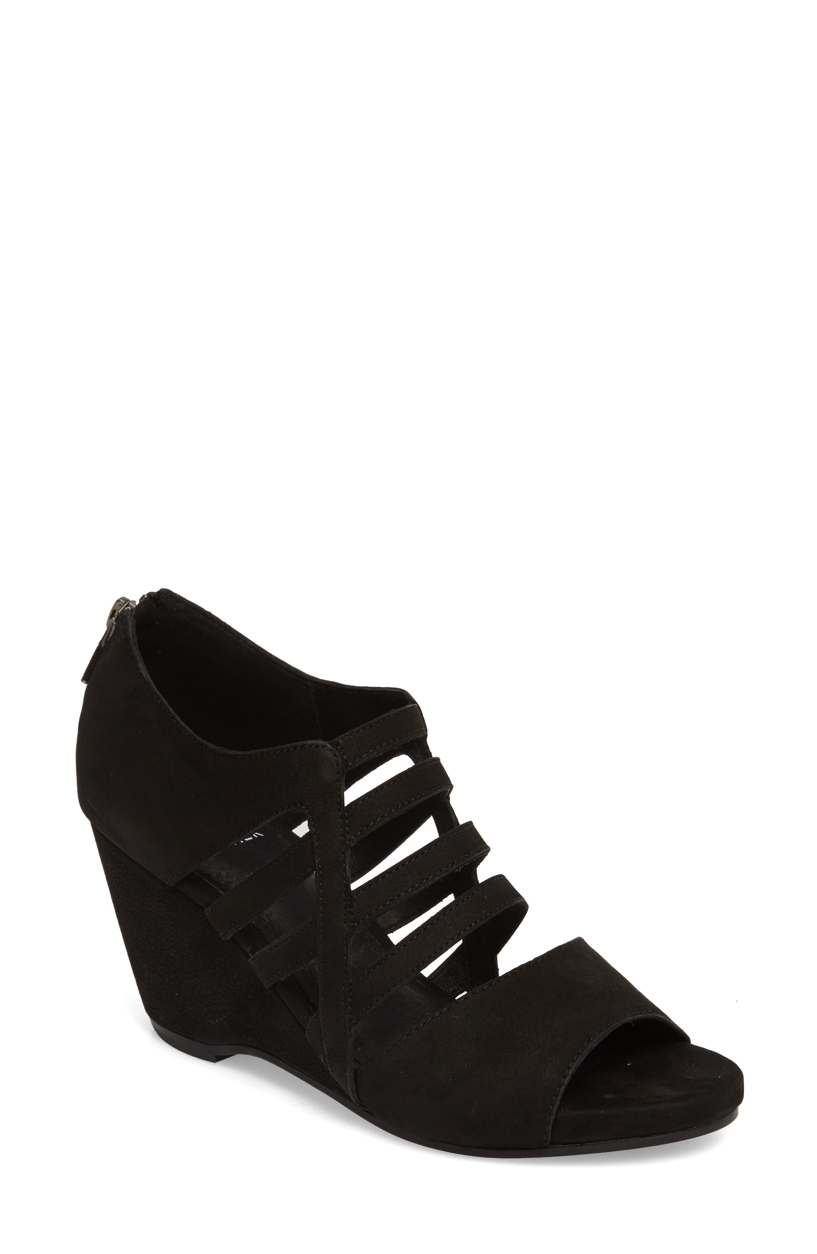 Dewey Wedge Sandal,                             Main thumbnail 1, color,                             Black Nubuck