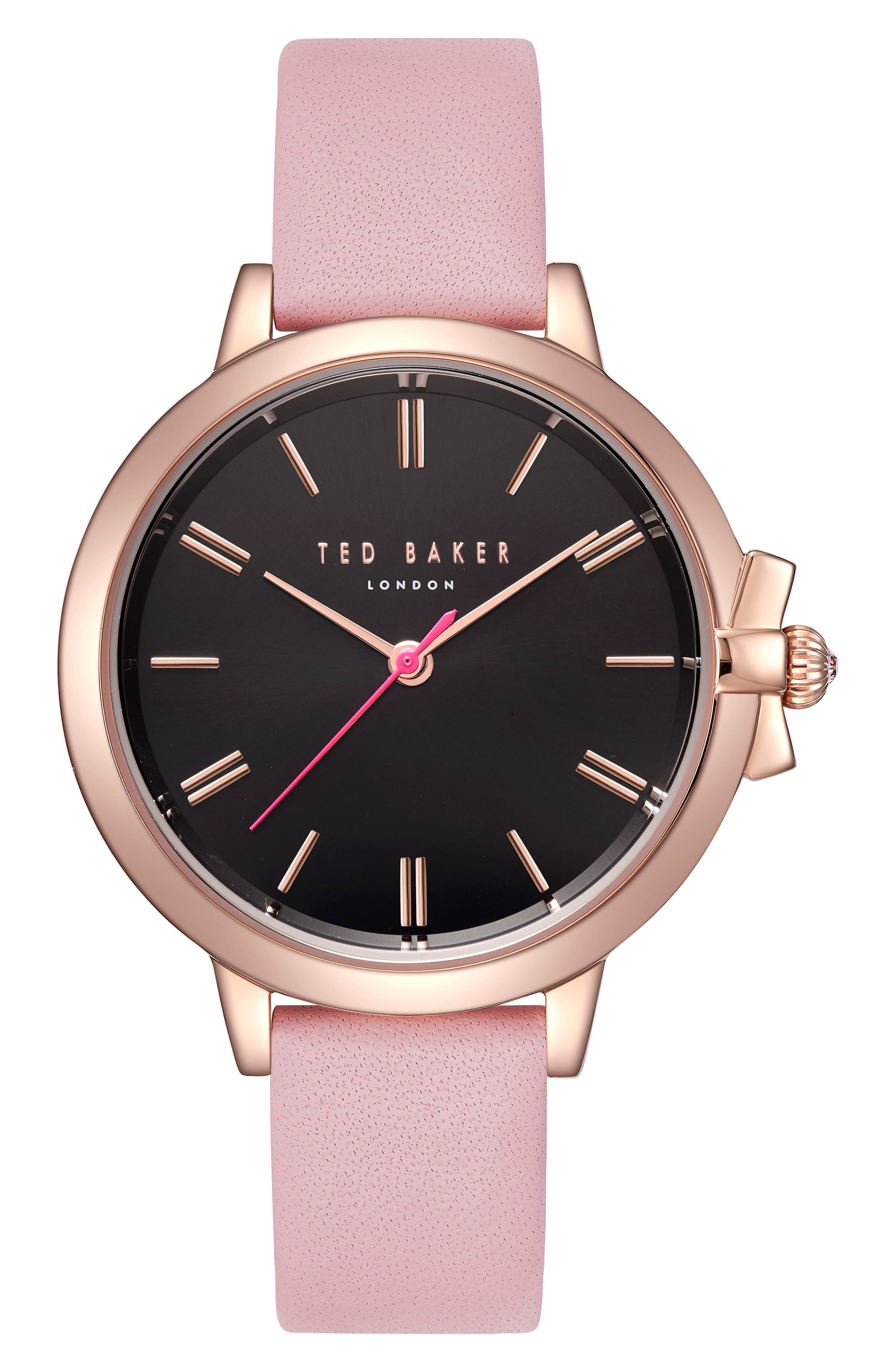 Leather Strap Watch, 36mm,                         Main,                         color, Pink/ Black/ Rose Gold