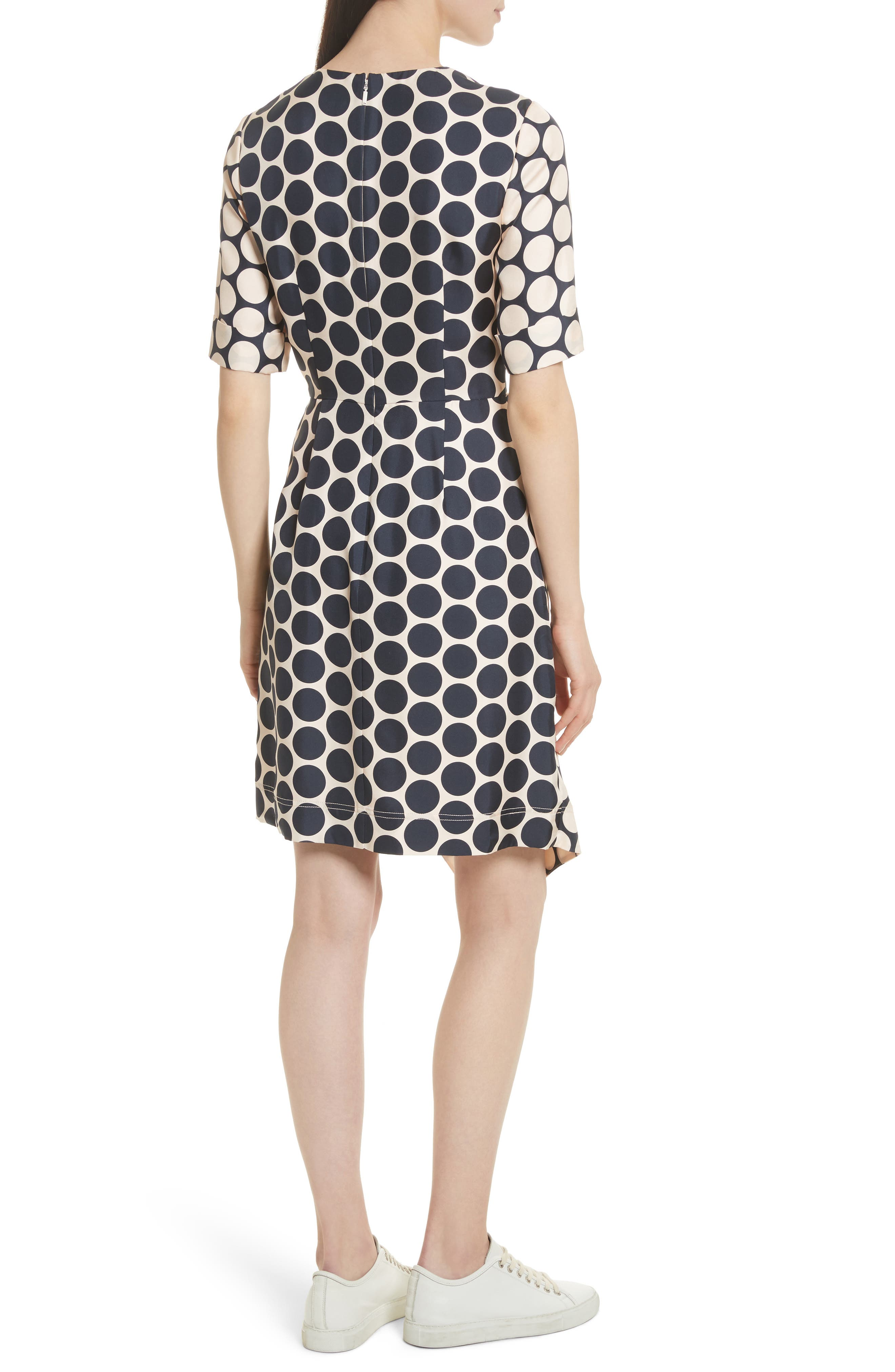 Polka Dot Silk Dress,                             Alternate thumbnail 2, color,                             Shell Combo