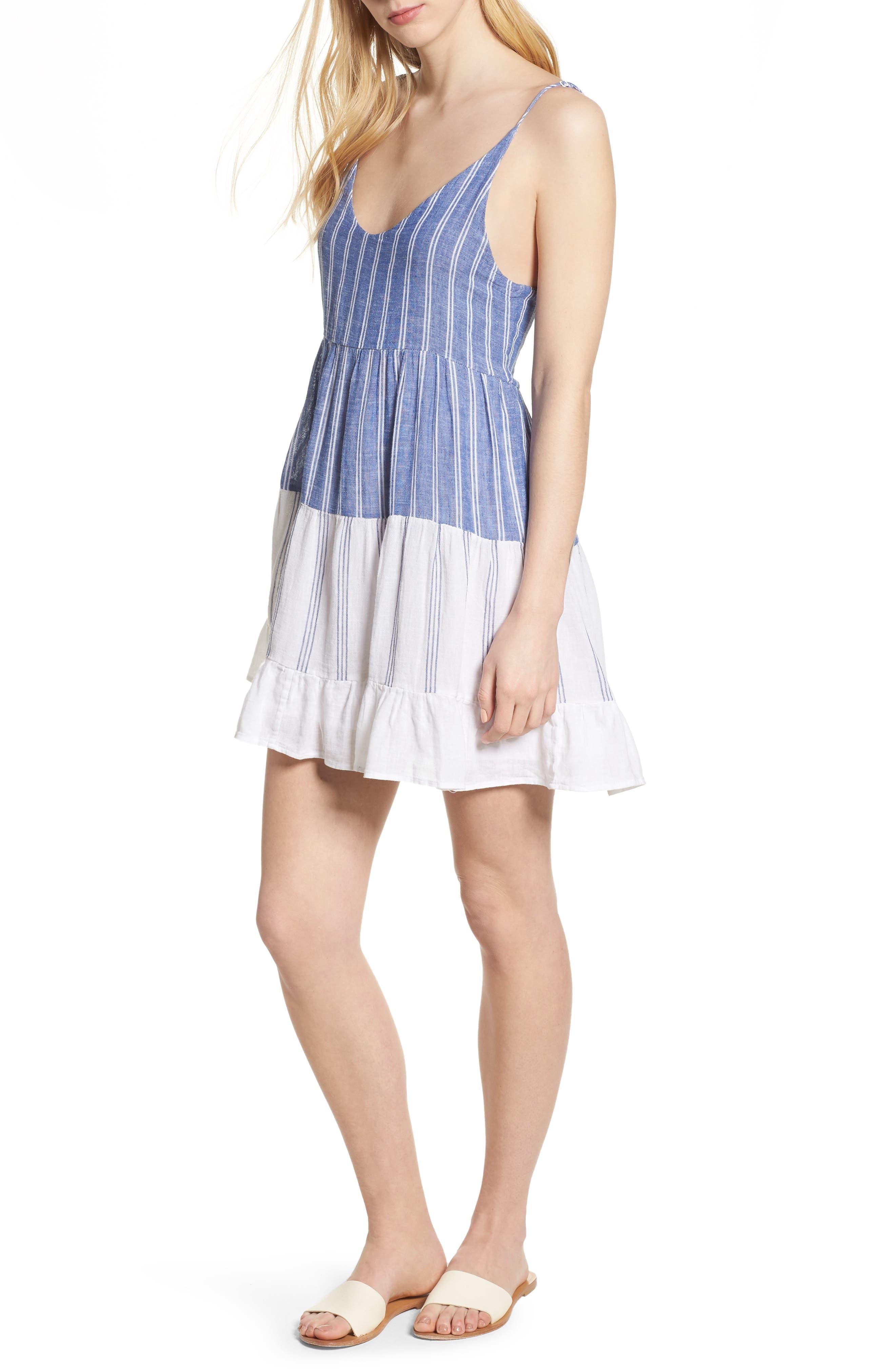 Mattie Dress,                             Main thumbnail 1, color,                             Mixed Blues Stripe