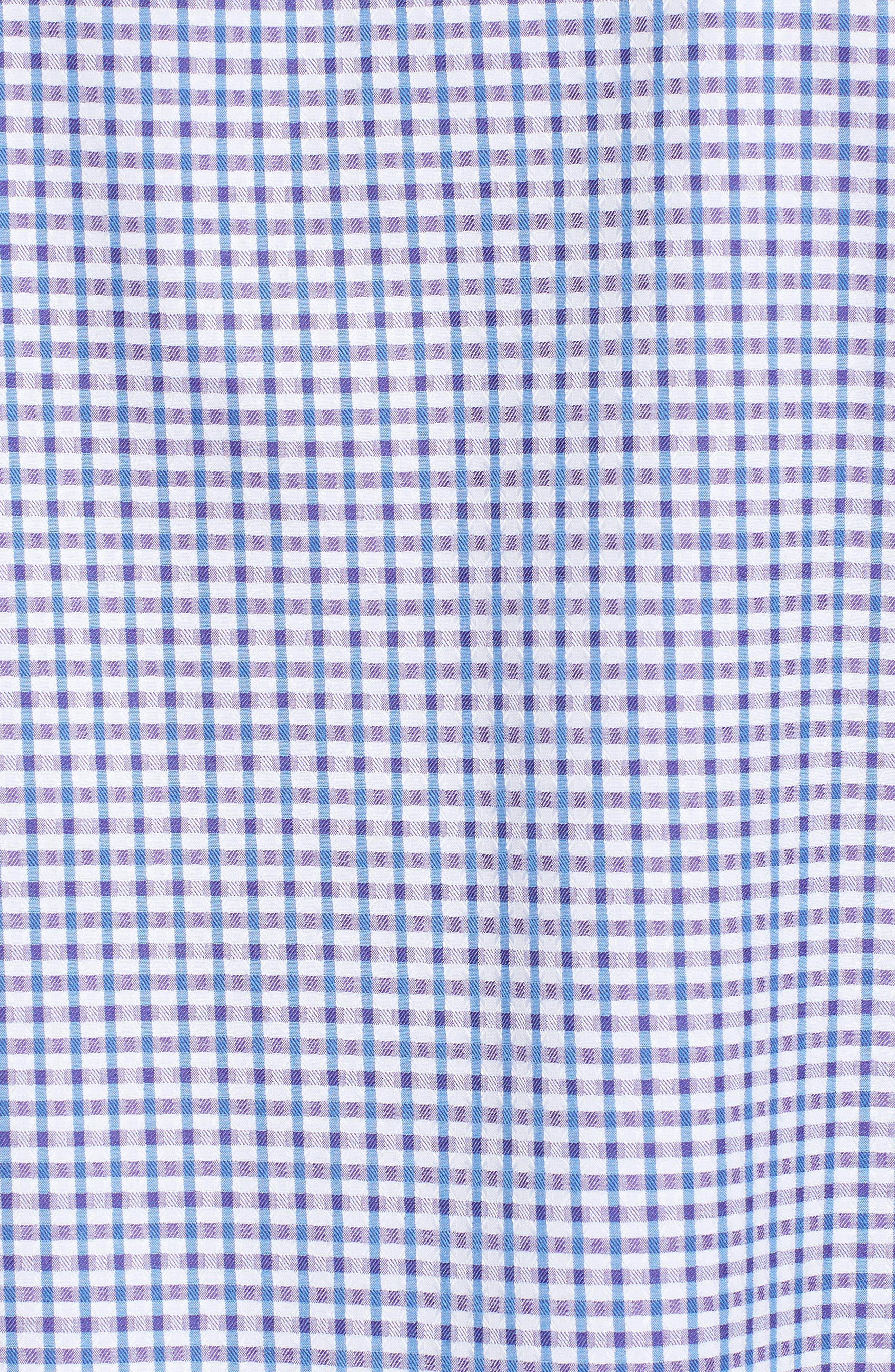 Classic Fit Microcheck Sport Shirt,                             Alternate thumbnail 5, color,                             Plum