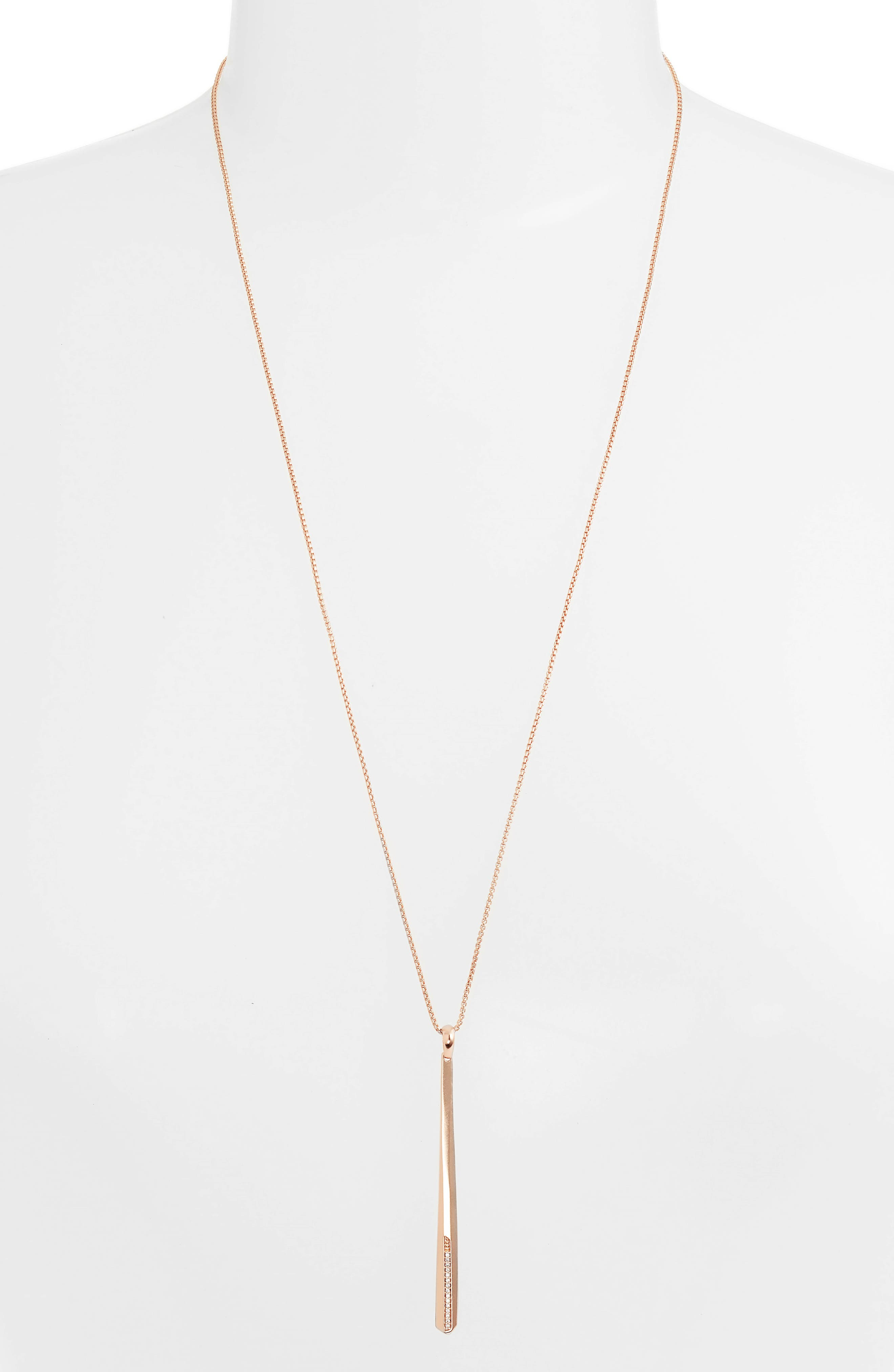 Ro Adjustable Necklace,                             Alternate thumbnail 2, color,                             White Cz/ Rose Gold