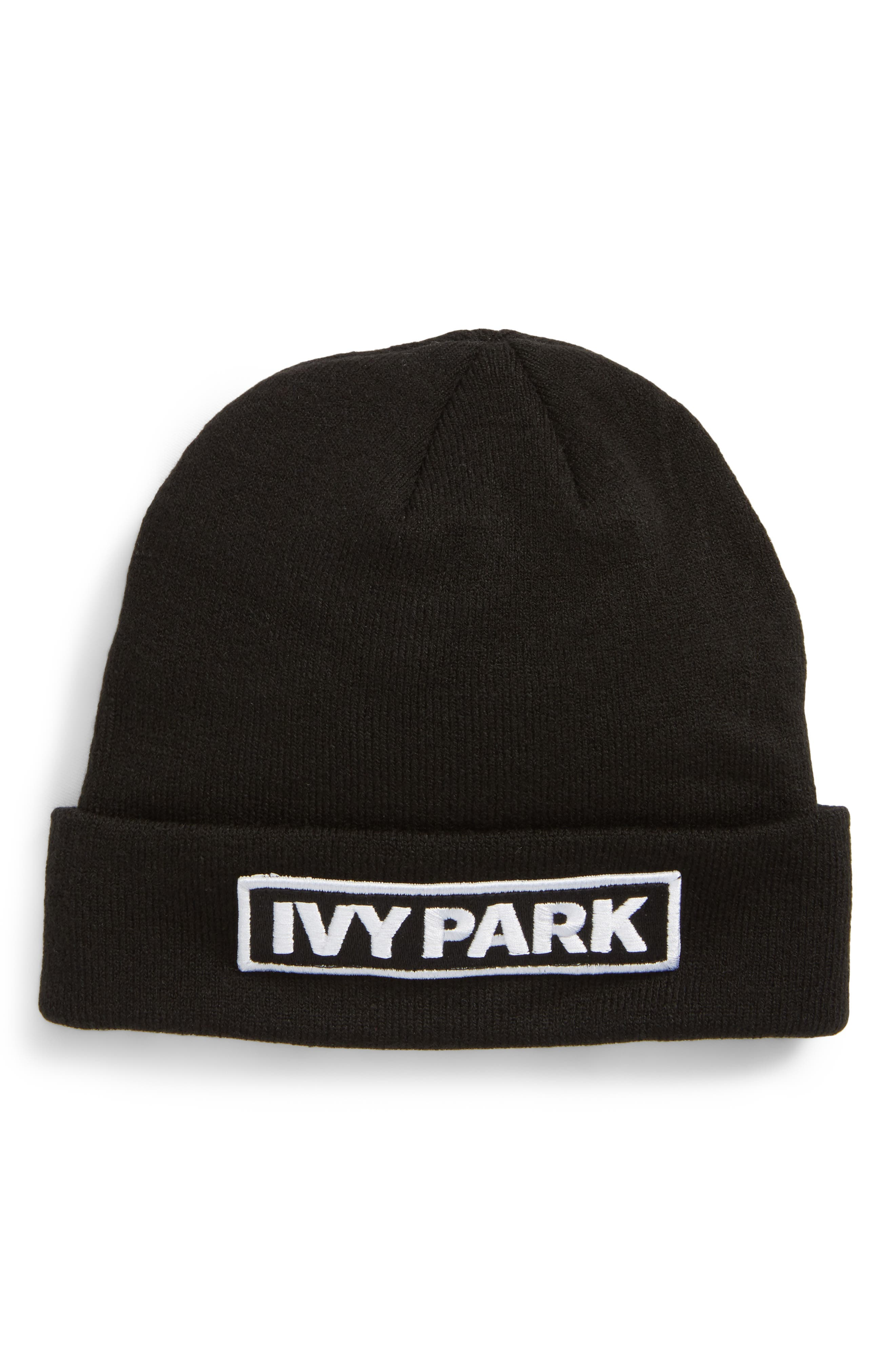 Embroidered Patch Beanie,                             Main thumbnail 1, color,                             Black