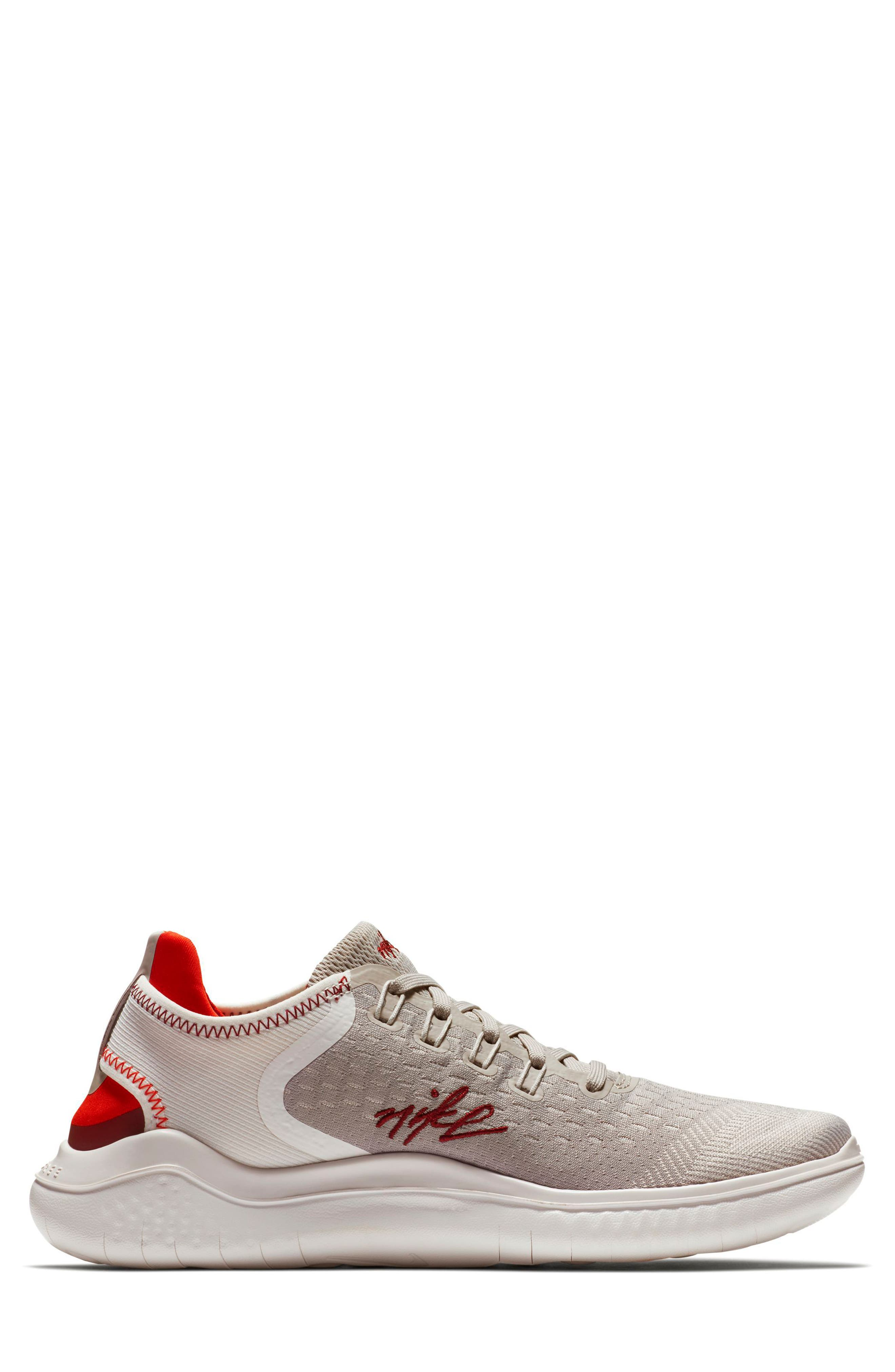 Free RN 2018 Running Shoe,                             Alternate thumbnail 3, color,                             Moon Particle/ Team Red