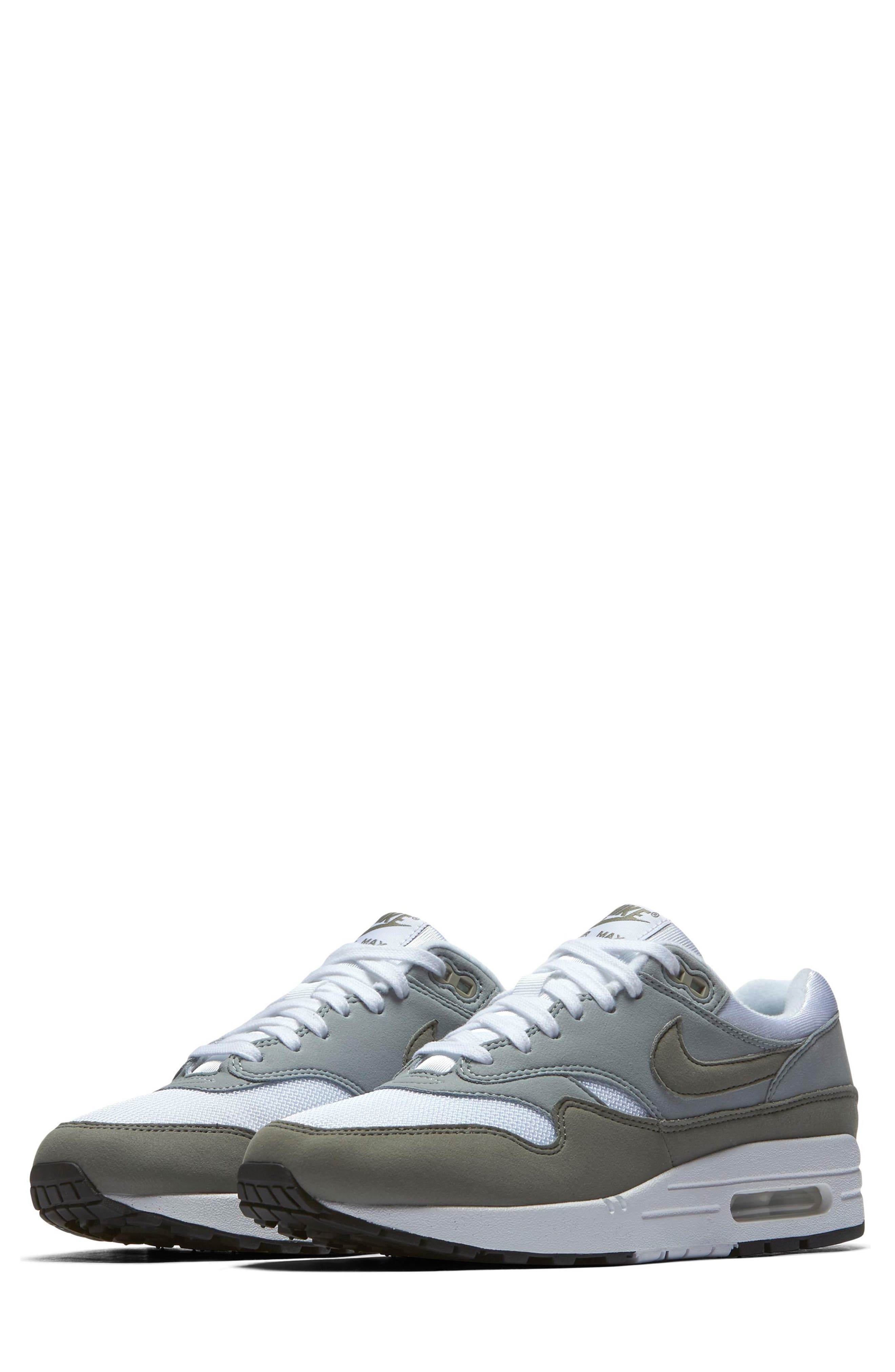 Air Max 1 Sneaker,                             Main thumbnail 1, color,                             White/ Dark Stucco