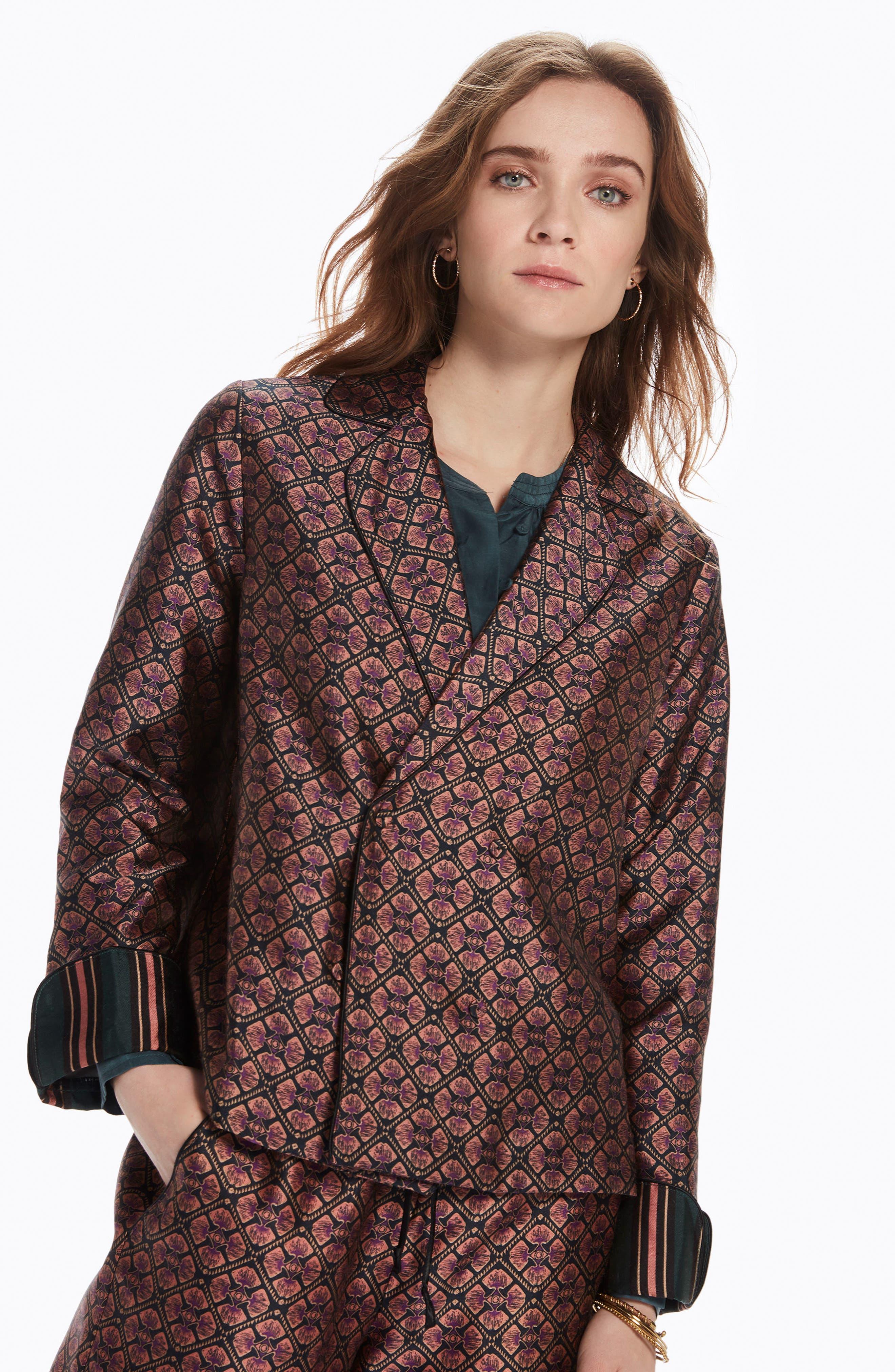 Double Breasted Print Pajama Blazer,                             Alternate thumbnail 2, color,                             Combo B