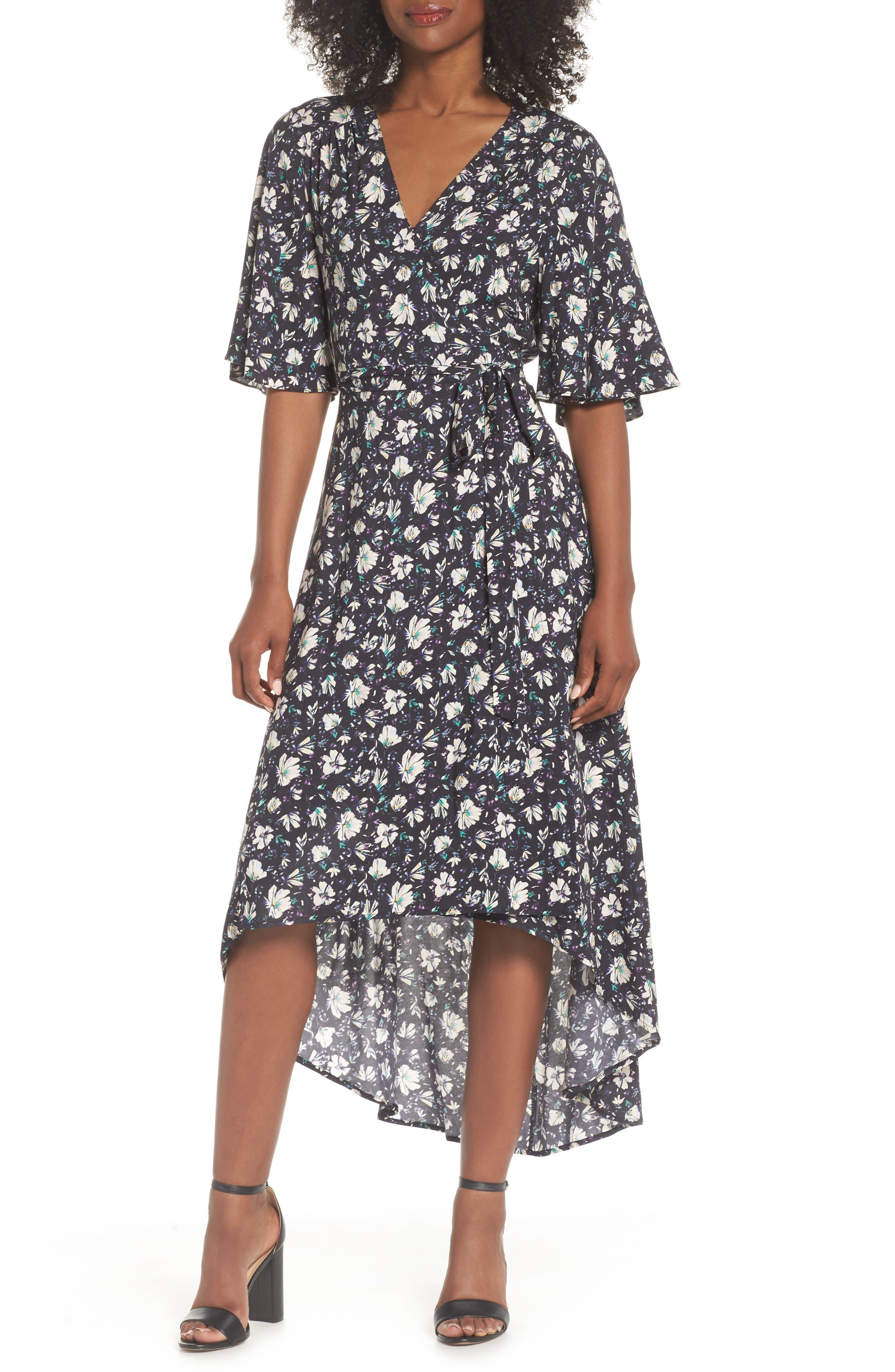 Lonny Floral Wrap Dress,                             Main thumbnail 1, color,                             London Floral