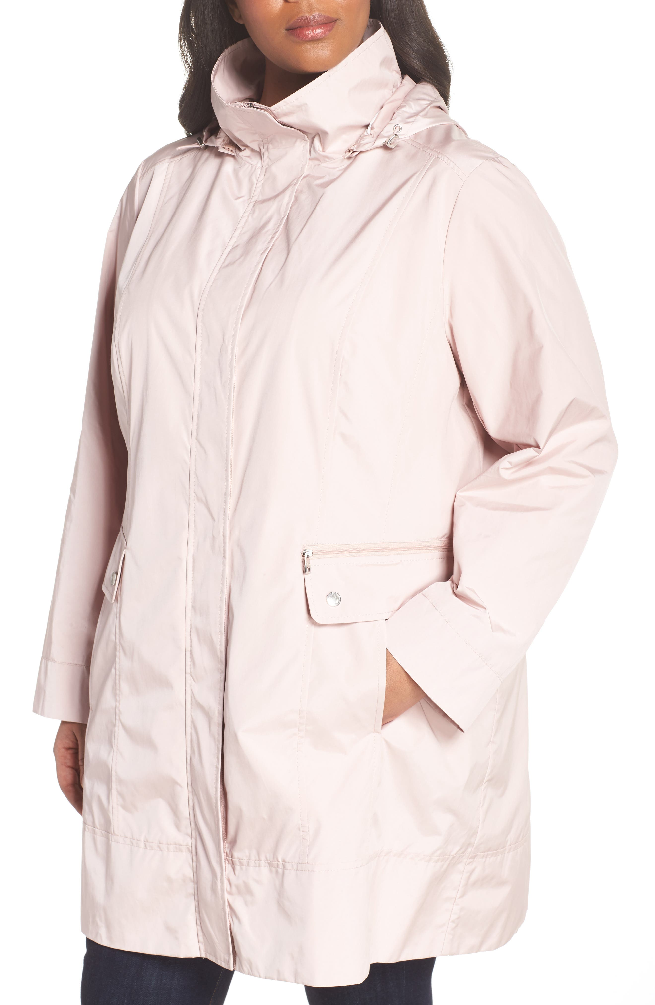 Cole Haan Water Resistant Rain Jacket,                             Alternate thumbnail 4, color,                             Canyon Rose