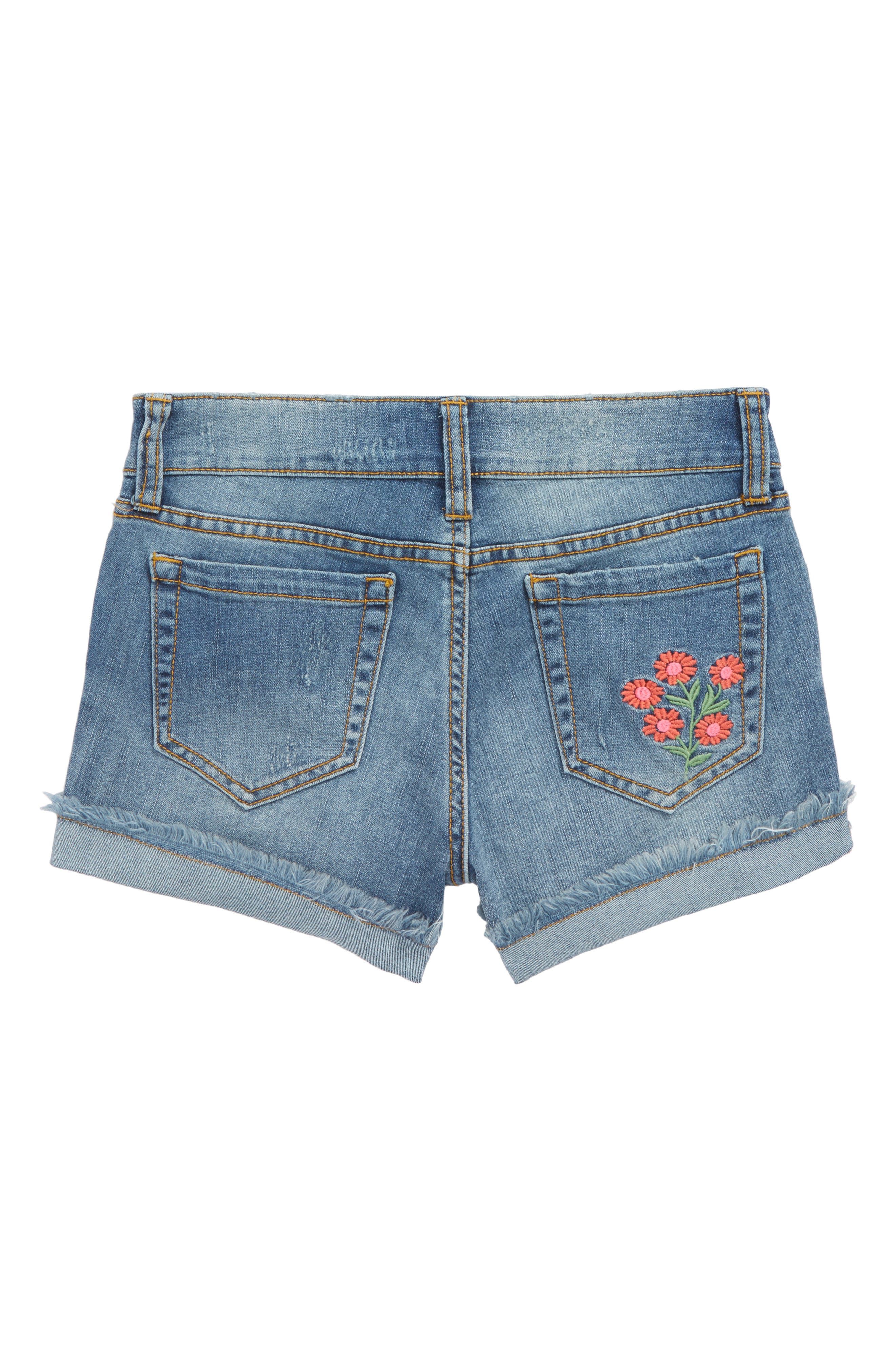 Flower Embroidered Denim Shorts,                             Alternate thumbnail 3, color,                             Lake Wash