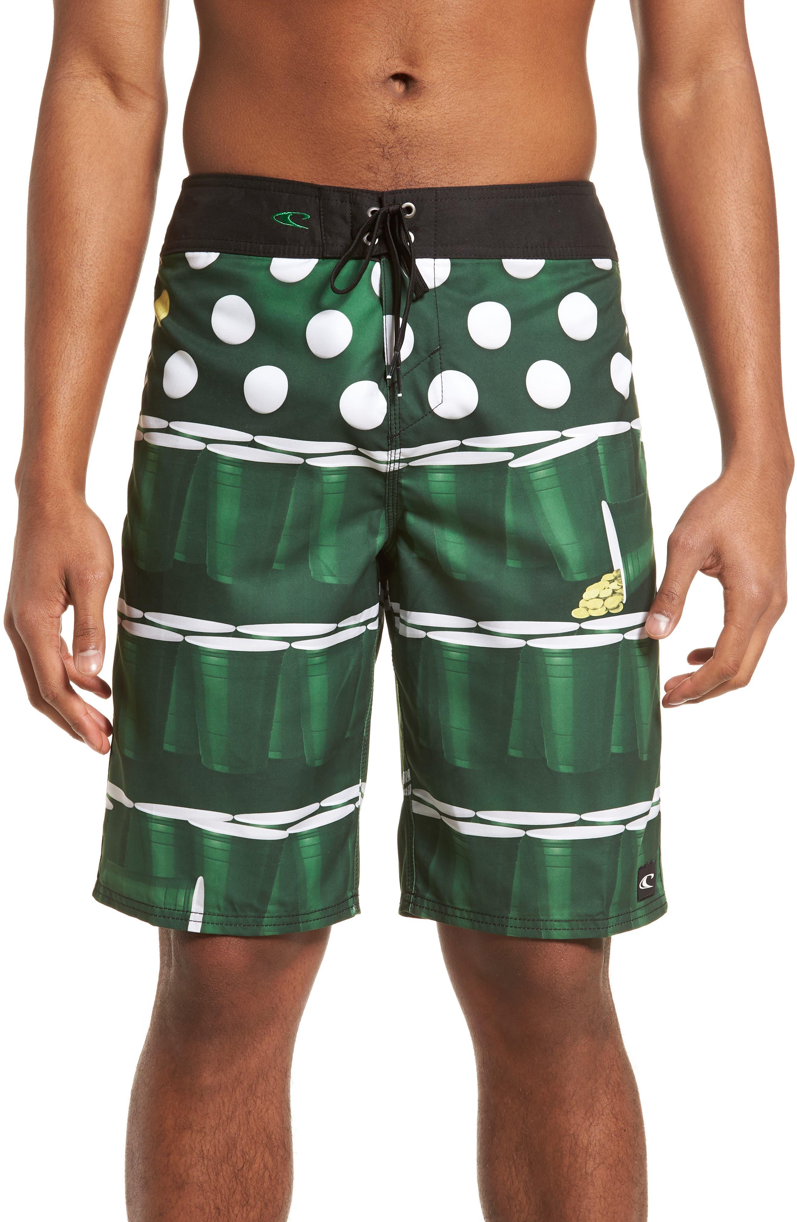 St. Paddy's Pong Board Shorts,                             Main thumbnail 1, color,                             Green